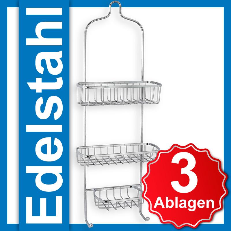 Haenge-Organizer-Dusch-Ablage-Regal-3-Koerbe-Edelstahl