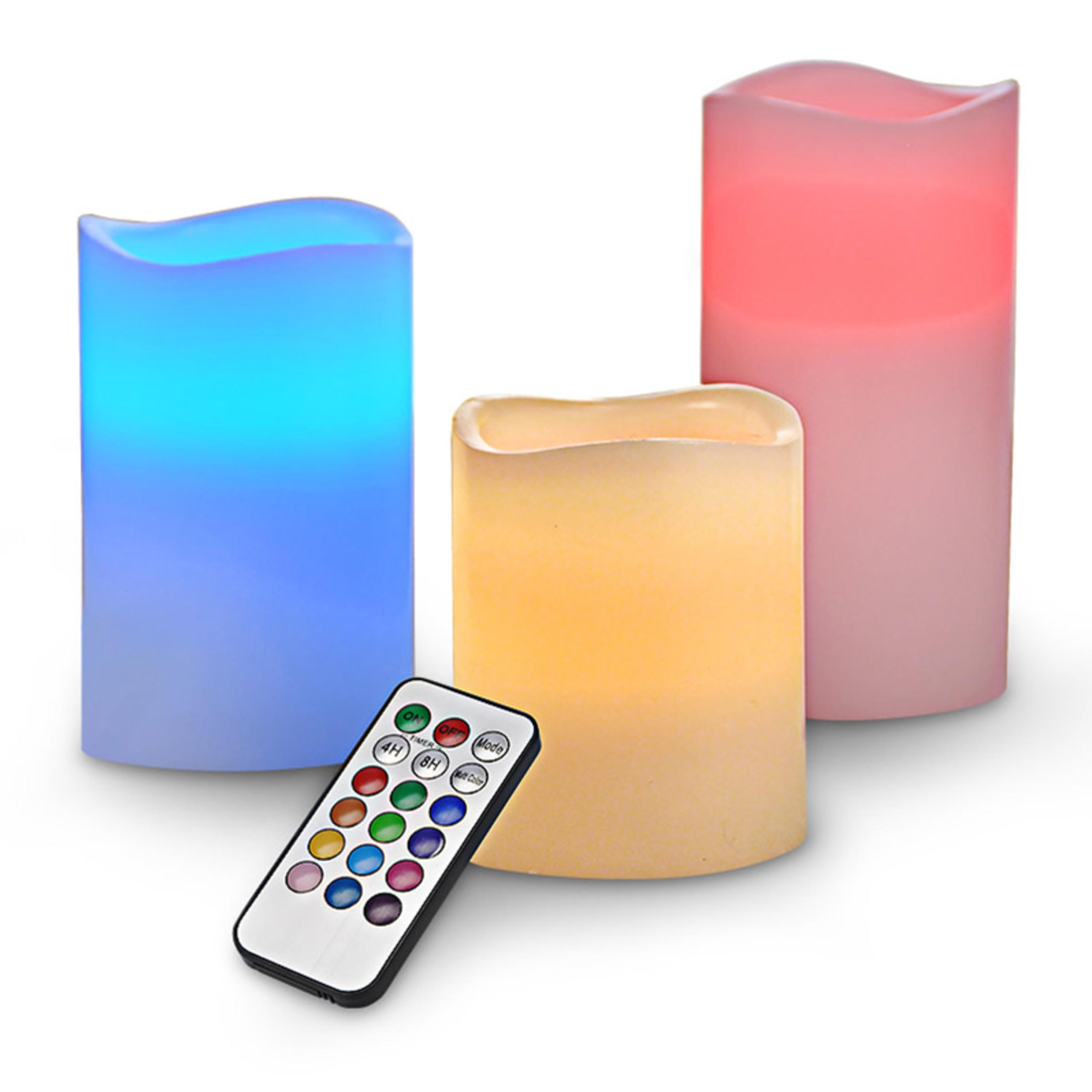 3x-LED-Kerzen-flammenlose-Echtwachskerzen-mit-Farbwechsel-Fernbedienung-Timer
