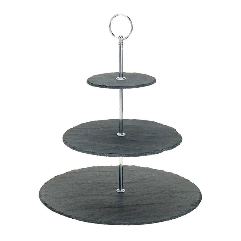 3-stoeckige-Etagere-Servierstaender-Platten-Dekoschale-Schiefer-32-cm-pflegeleicht
