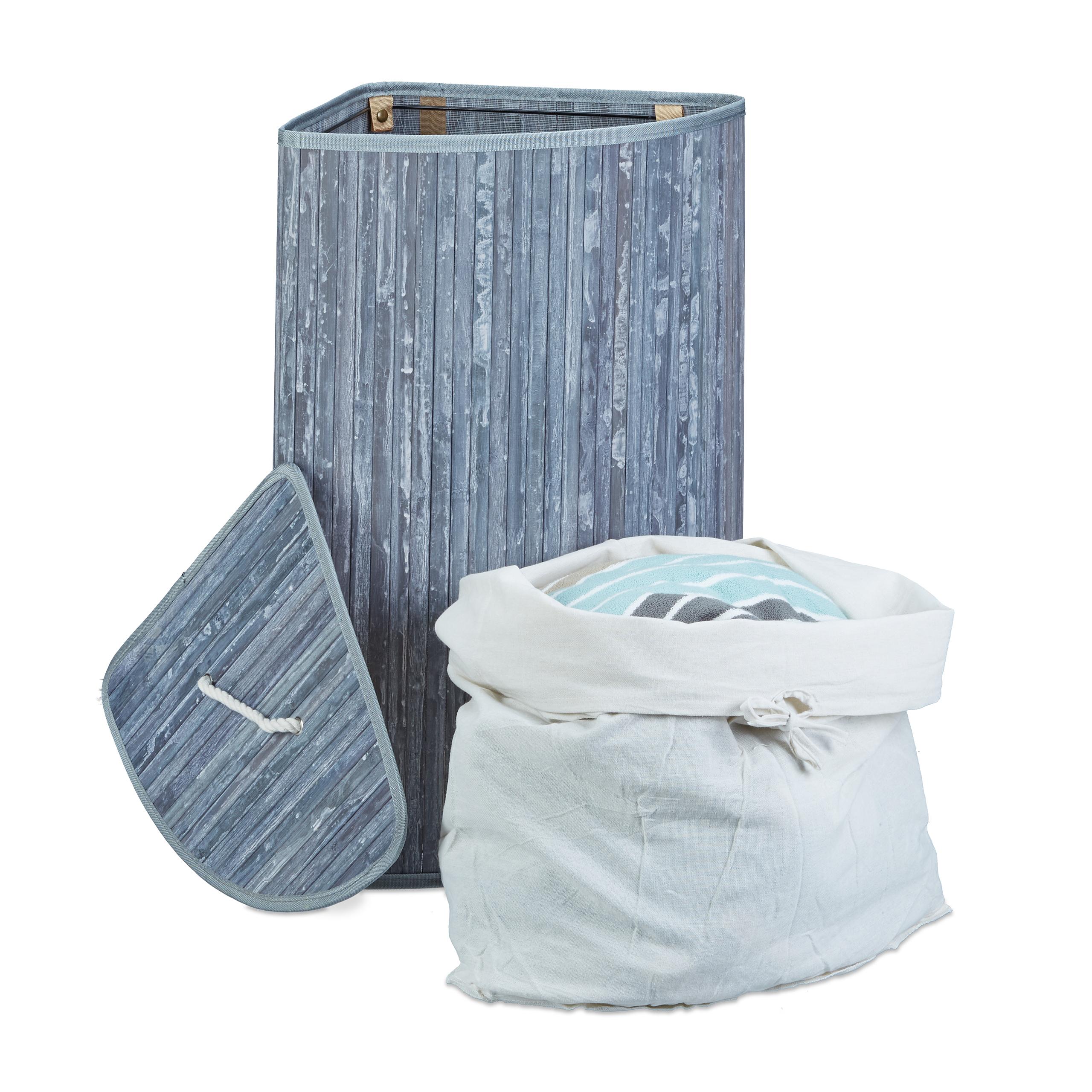 Eck-Wäschekorb Bambus faltbar 65cm hoch Wäschetruhe eckig 5 Farben Wäschebox