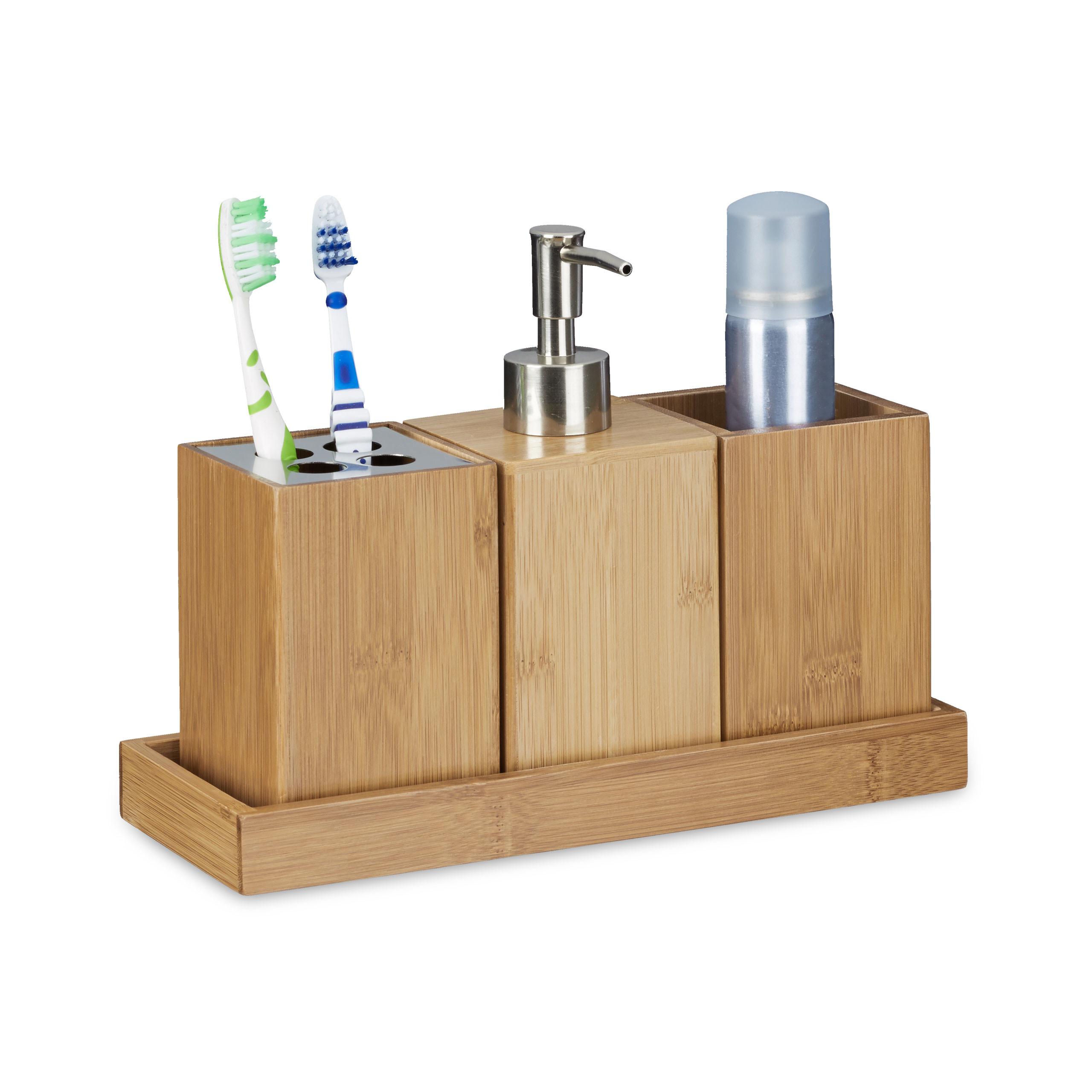 Bad-Accessoires-Set Zahnbürstenhalter, Seifenspender, Seifenablage Badset Bambus