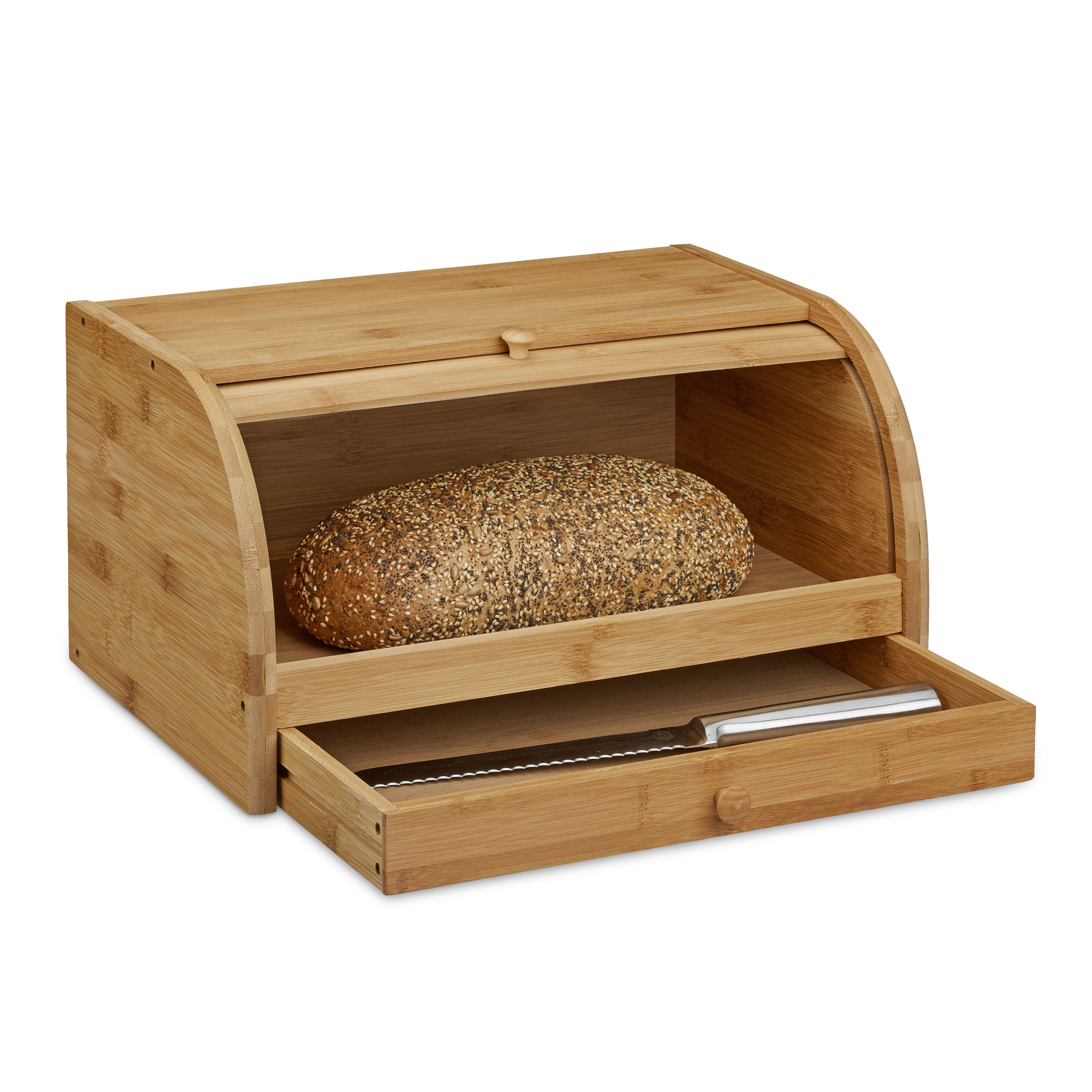 Brotkasten Bambus mit Schublade als Rollbrotkasten Brotkiste Design Brotbehälter