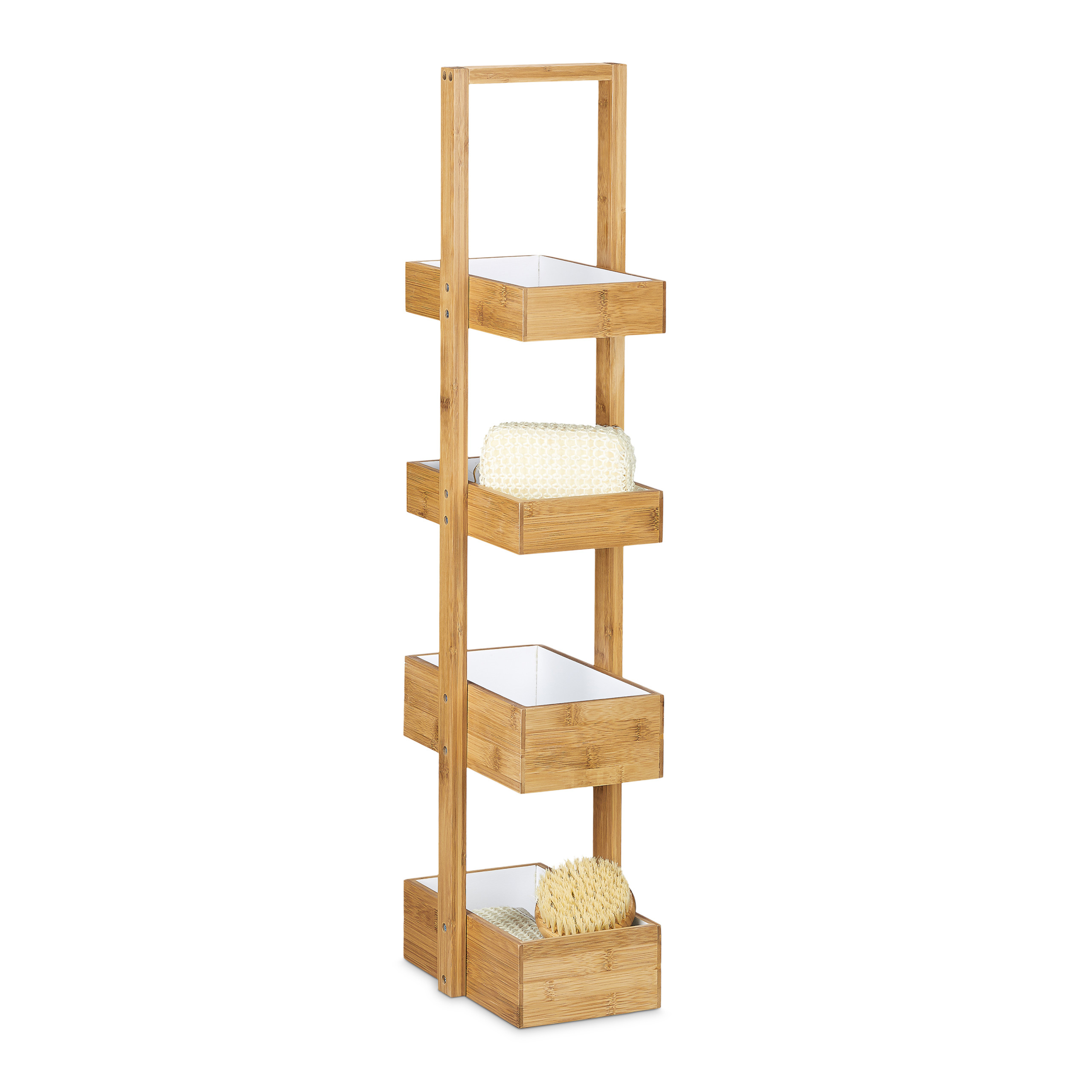 Étagère salle de bain bambou 3 étages panier corbeille meuble 4 ...
