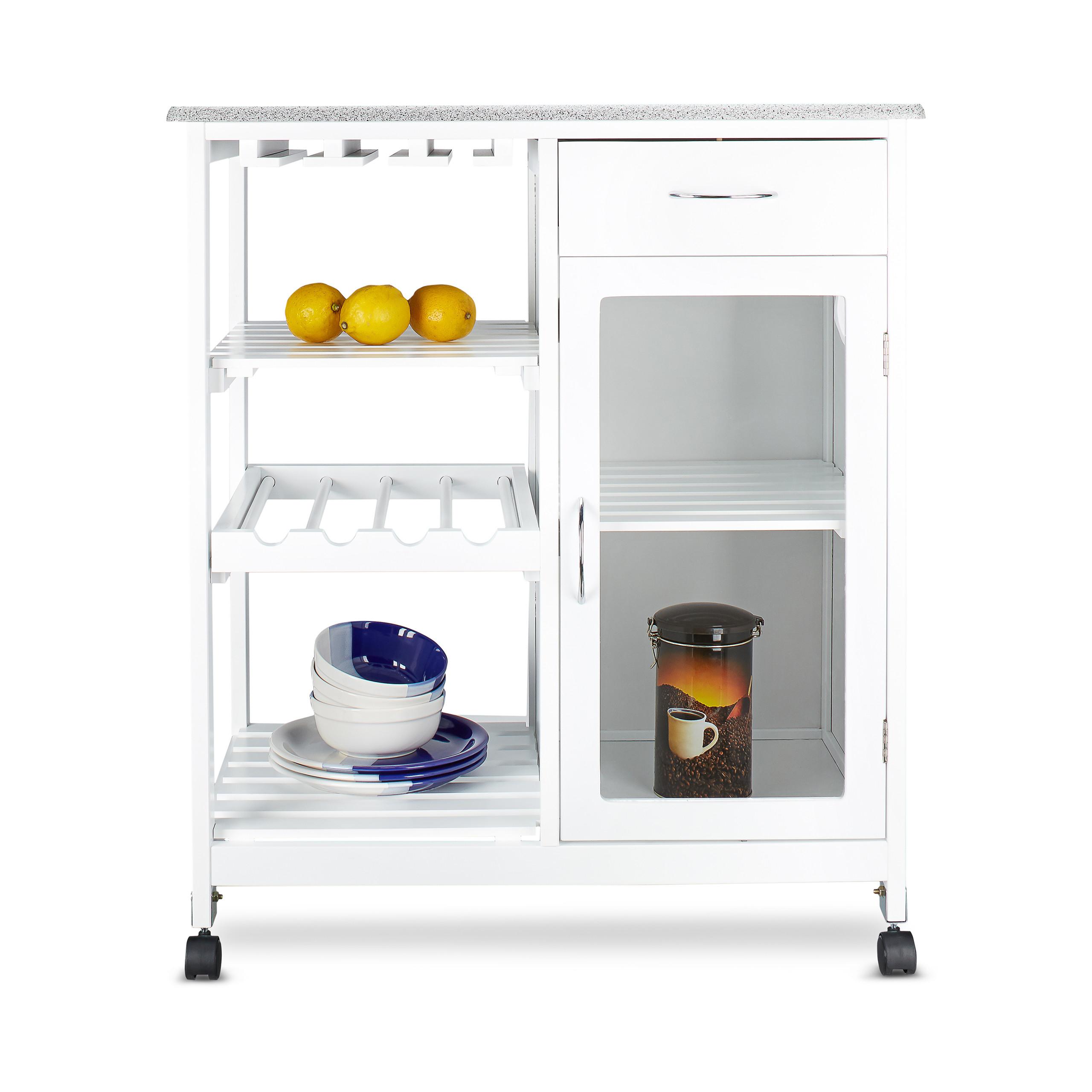 k chenwagen aus holz rollwagen servierwagen k chenschrank wei flaschenhalter ebay. Black Bedroom Furniture Sets. Home Design Ideas
