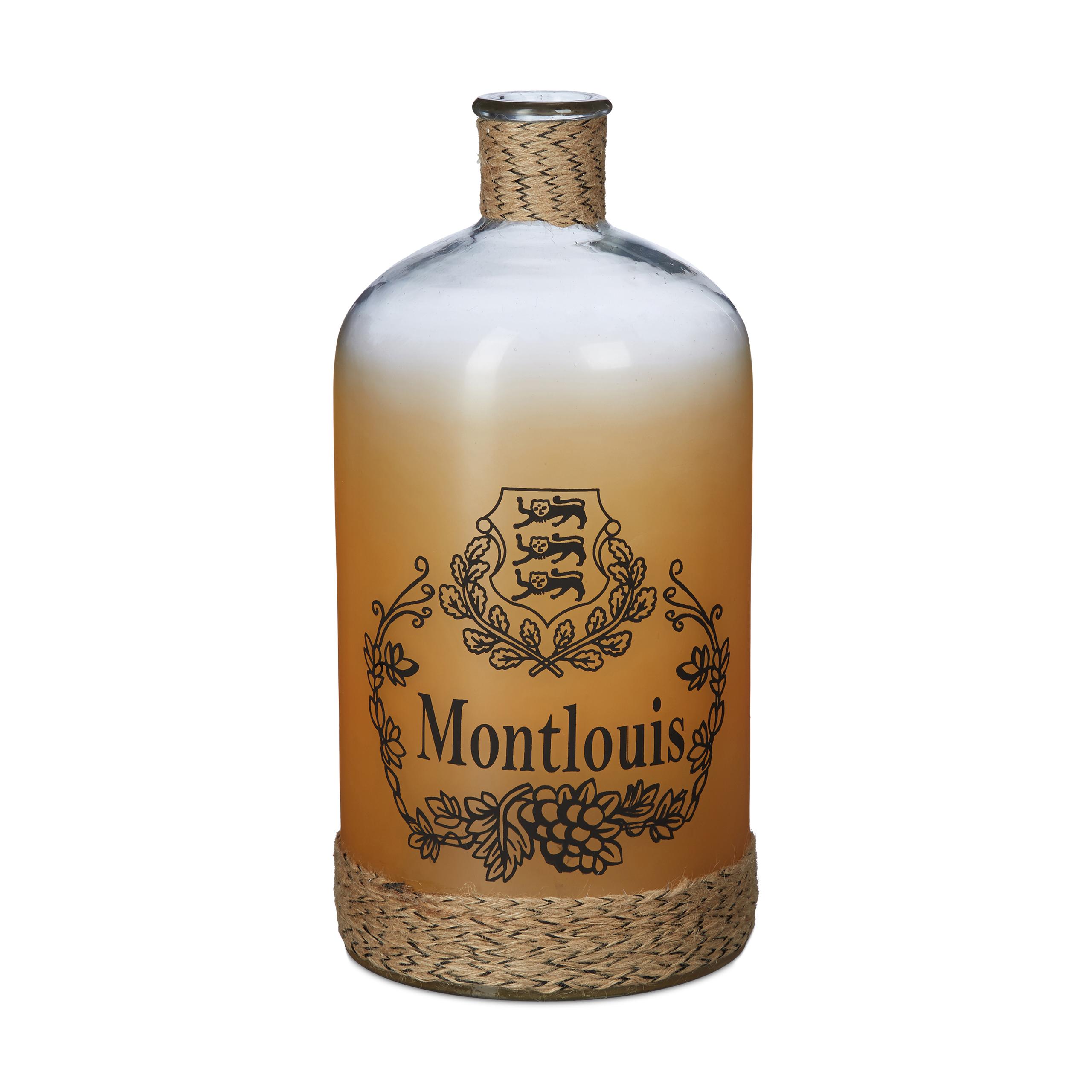Dekoflasche Bodenvase Glas Flasche groß Kordel Flaschenvase Standvase Vintage
