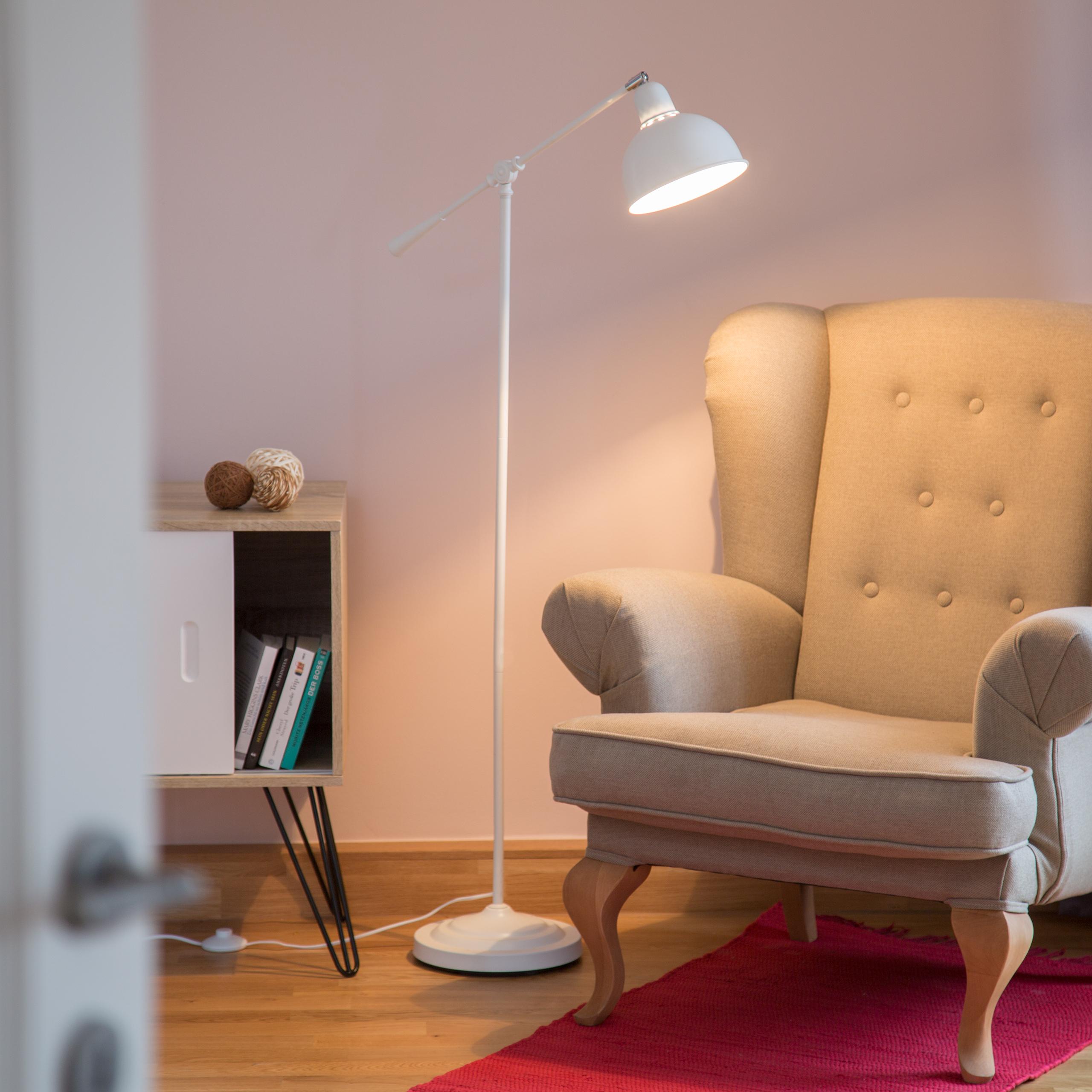 Gelenk-Stehlampe groß Retro Deckenfluter Schwenkarm Leselampe verstellbar