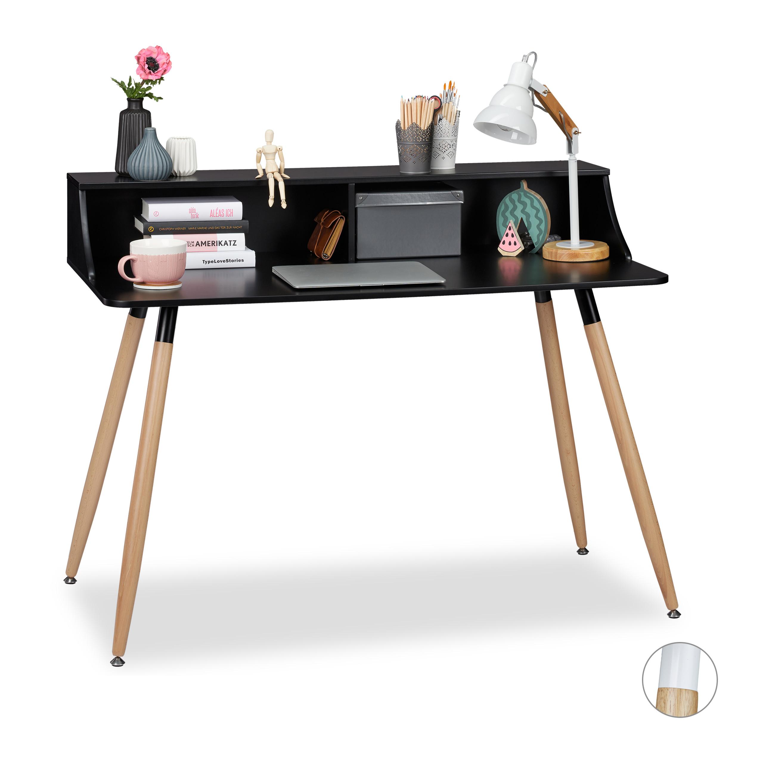 Bureau-blanc-table-de-travail-en-bois-style-retro-nordique-scandinave-noir