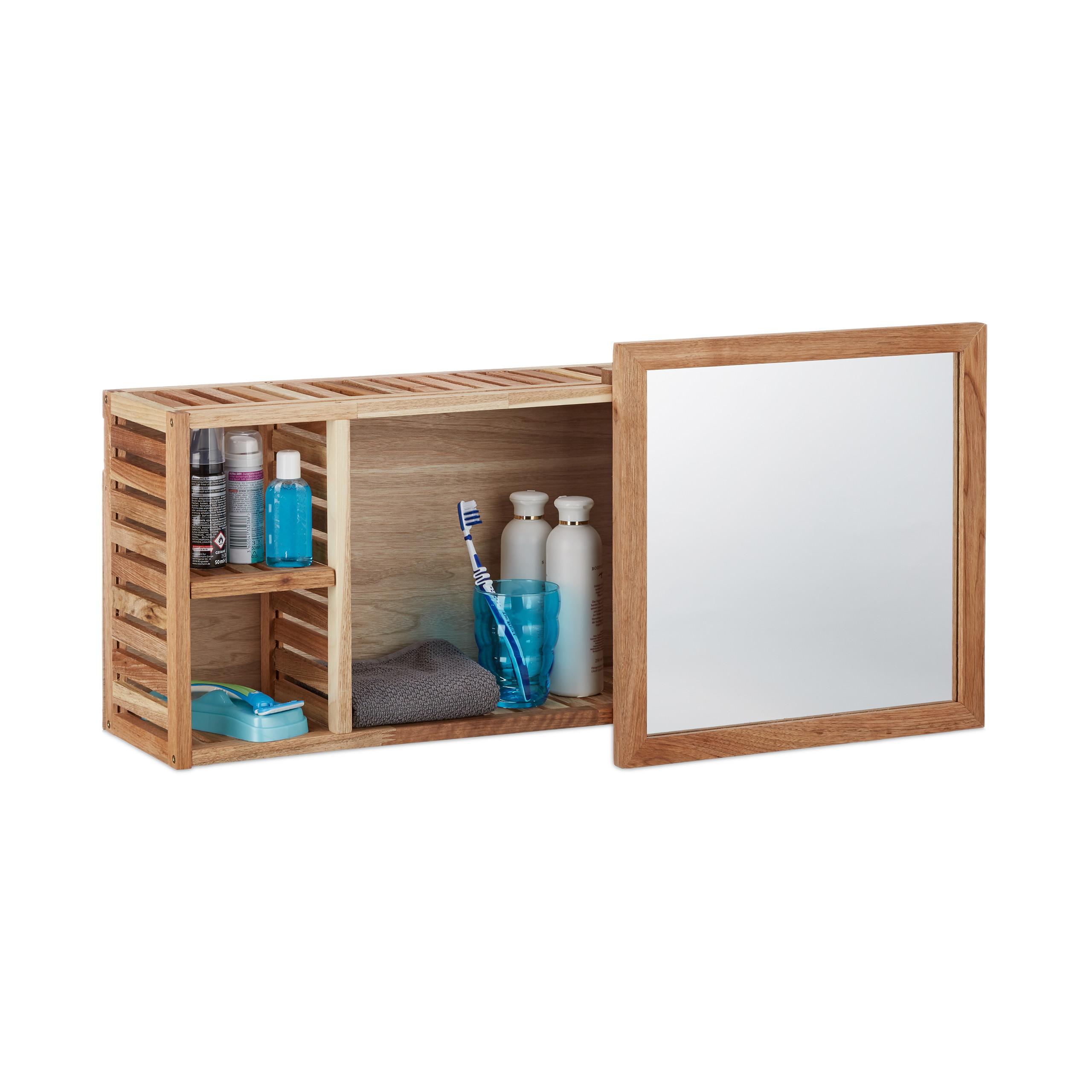 Wandregal mit spiegel verschiebbar robuster badschrank aus walnuss holzregal ebay - Badschrank mit spiegel ...