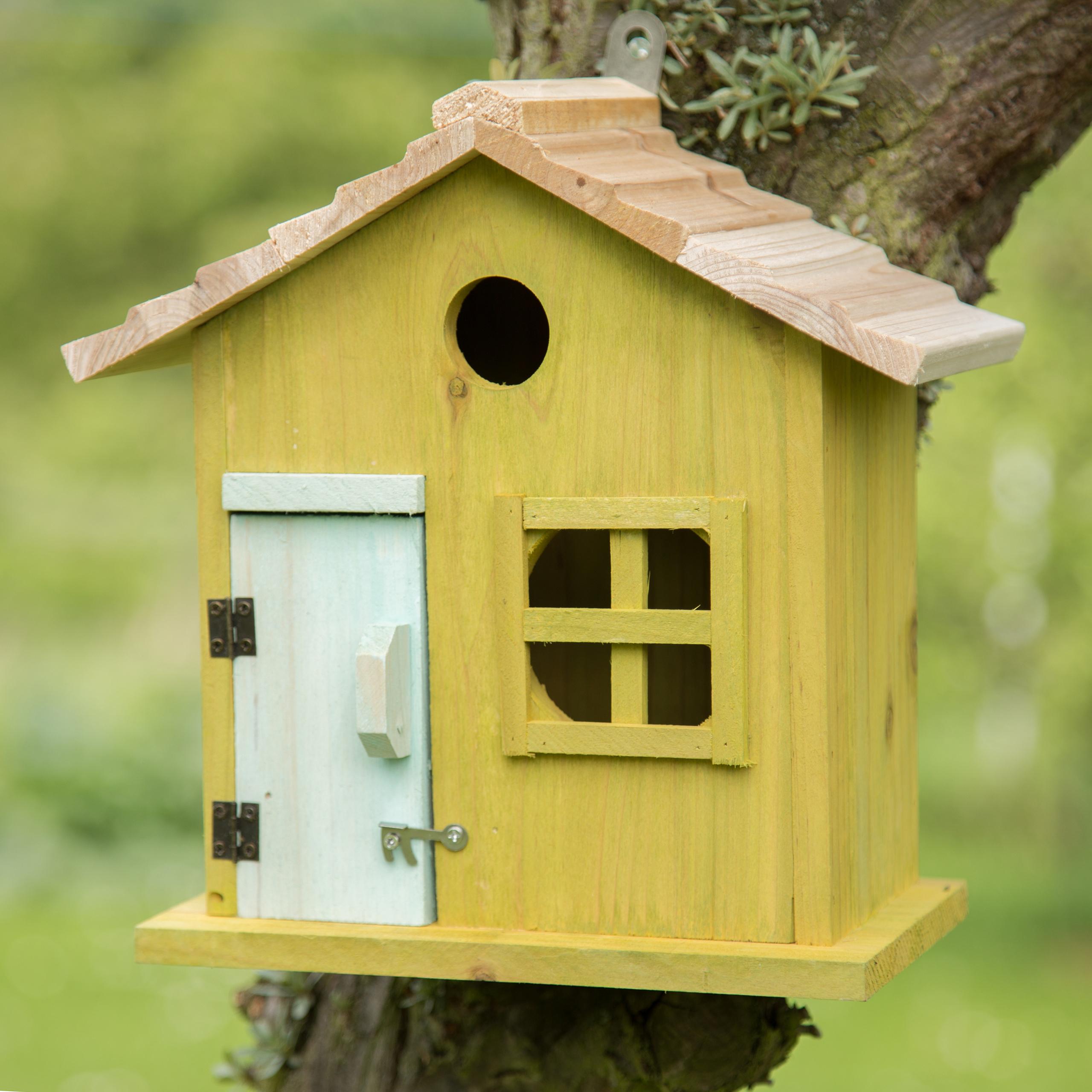 Nistkasten aus Holz Vögel bunt in Häuschenform mit Tür und Fenster Vogelhaus