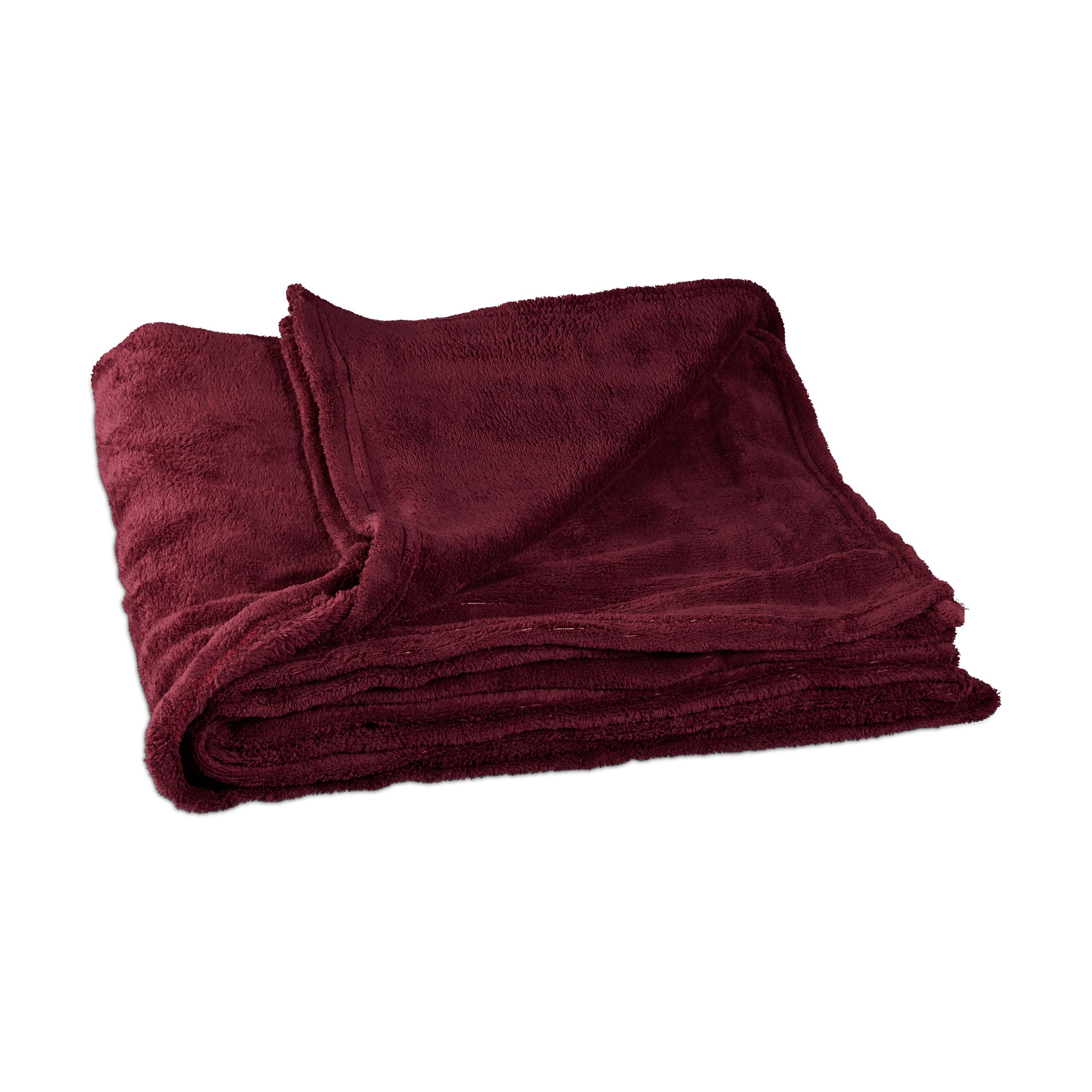 couverture grande polaire douce plaid moelleuse douillet bordeaux. Black Bedroom Furniture Sets. Home Design Ideas