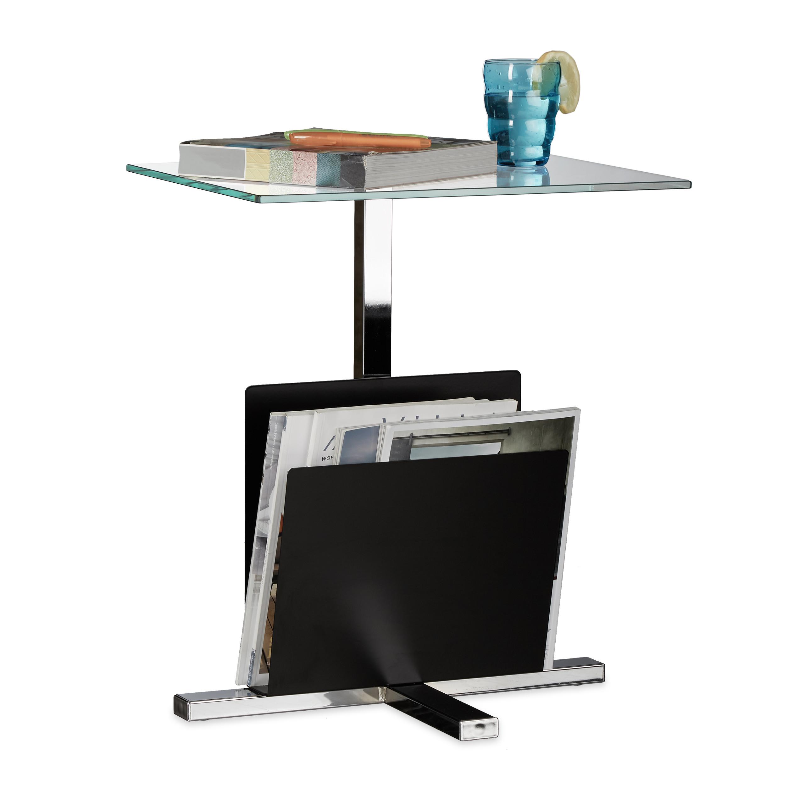 beistelltisch mit zeitungsablage glasplatte metall glastisch zeitungsst nder ebay. Black Bedroom Furniture Sets. Home Design Ideas
