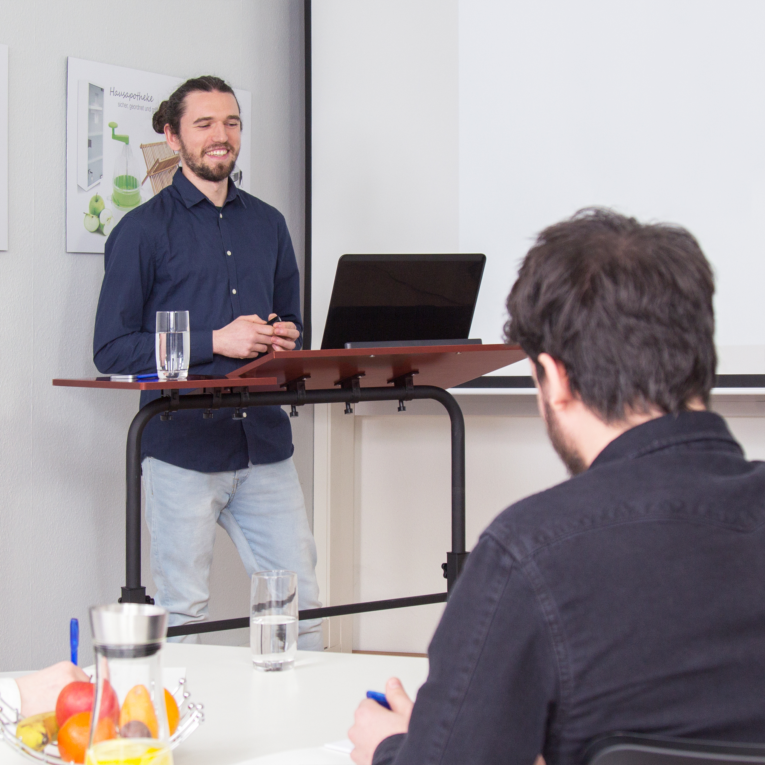 Laptoptisch höhenverstellbar groß XXL Notebookständer Büro Beistelltisch Rollen