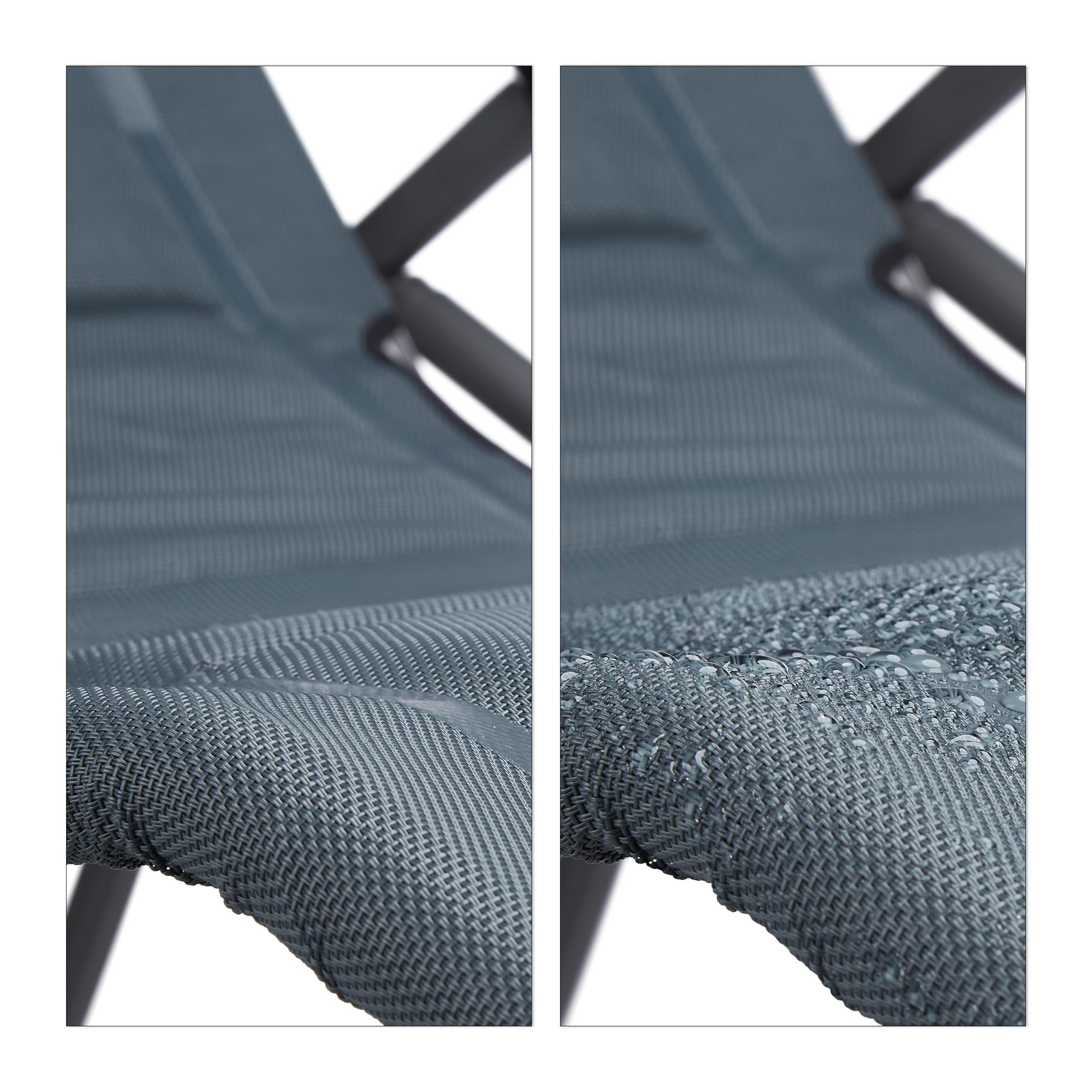métal rembourré Relaxdays bains Chaise longue pliable Gris Outdoor santé Chaise longue