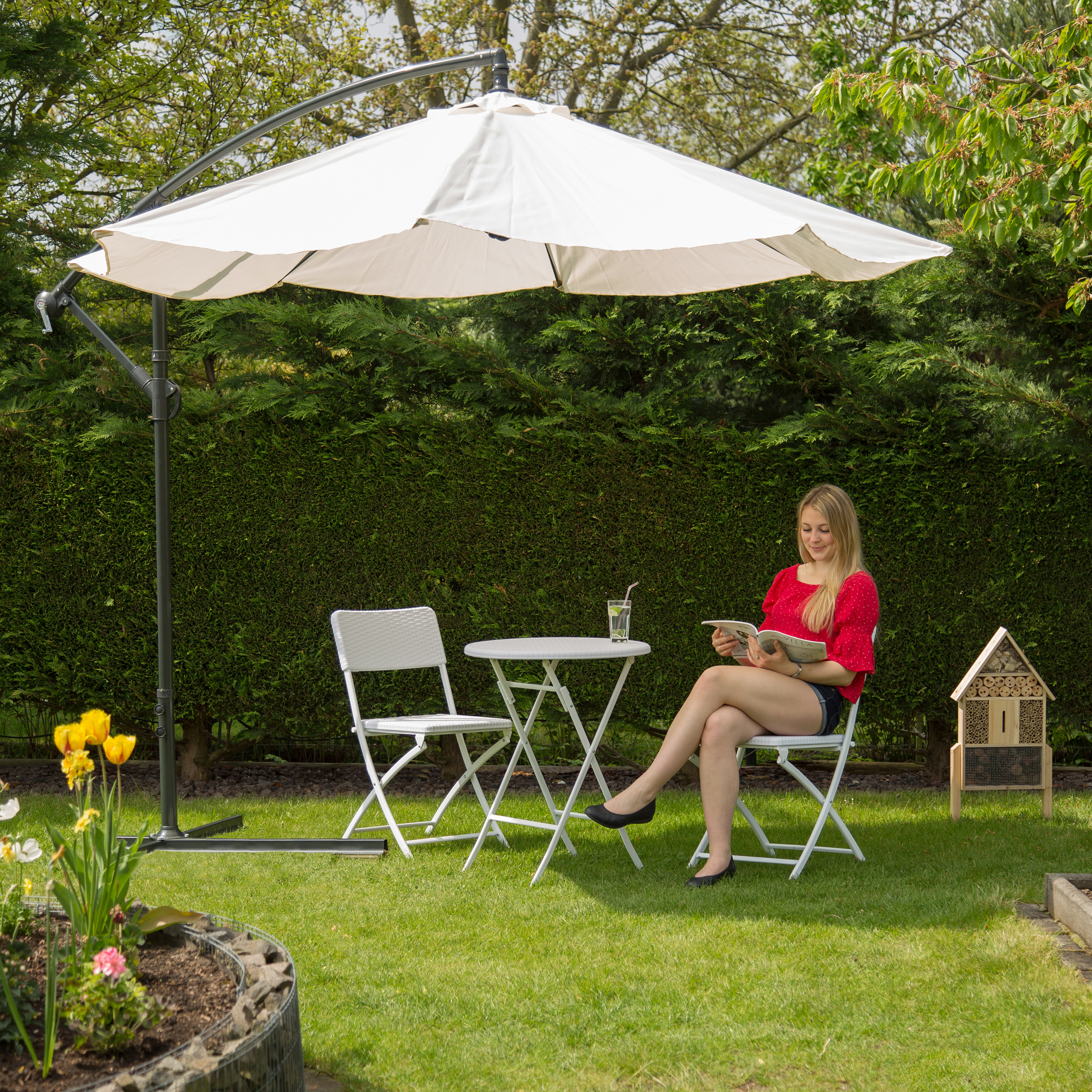 Relaxdays Gartenschirm 3m 45-mm Stahlmast drehbar UV-Schutz Neigefunktion