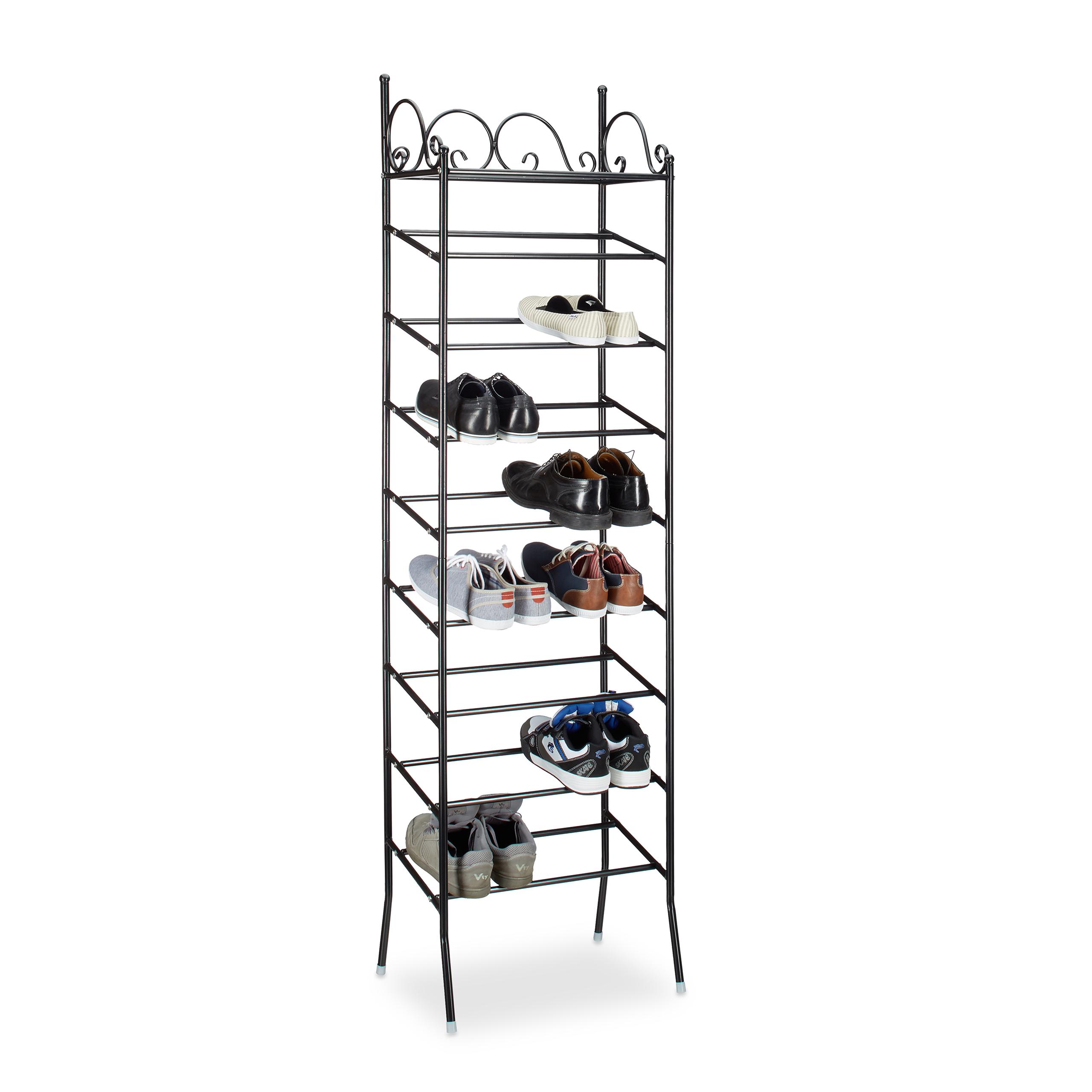 Schuhschrank Stoffbezug Metall Schuhregal COUNTRY 20 Paar Schuhablage 8 Ebenen