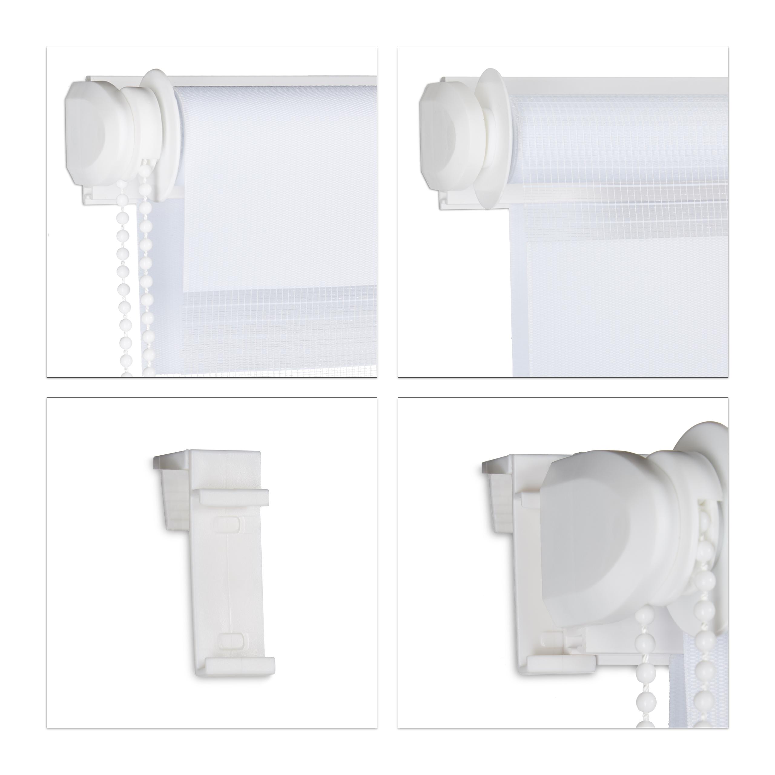 Doppelrollo Klemmfix Seitenzugrollo weiß Duorollo ohne bohren Fensterrollo Stoff