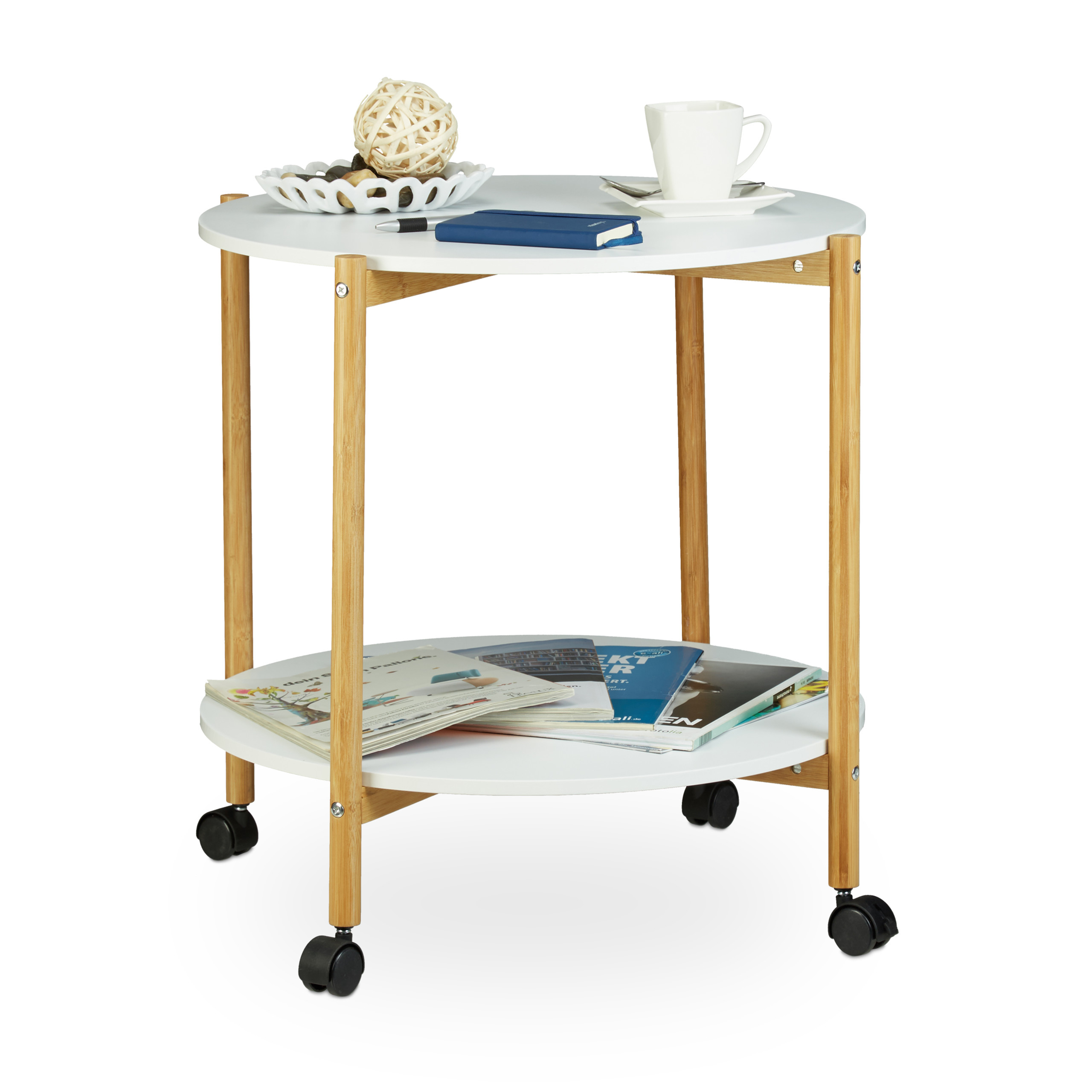 Side Table on Castors, White Wooden Table, Round Coffee Table, Wheels with Brake