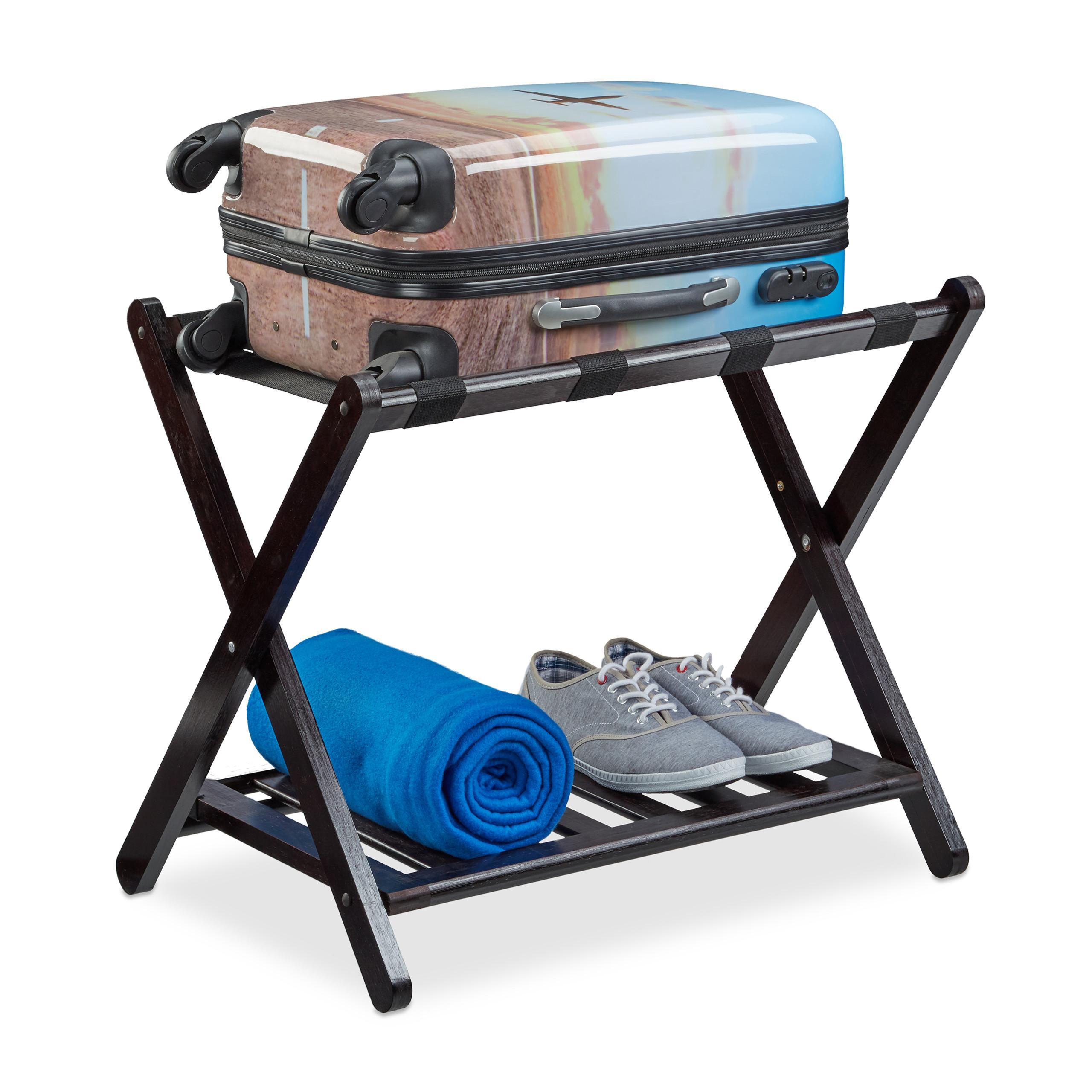 Kofferständer klappbar Kofferablage Holz Kofferbock faltbar Gepäckständer braun