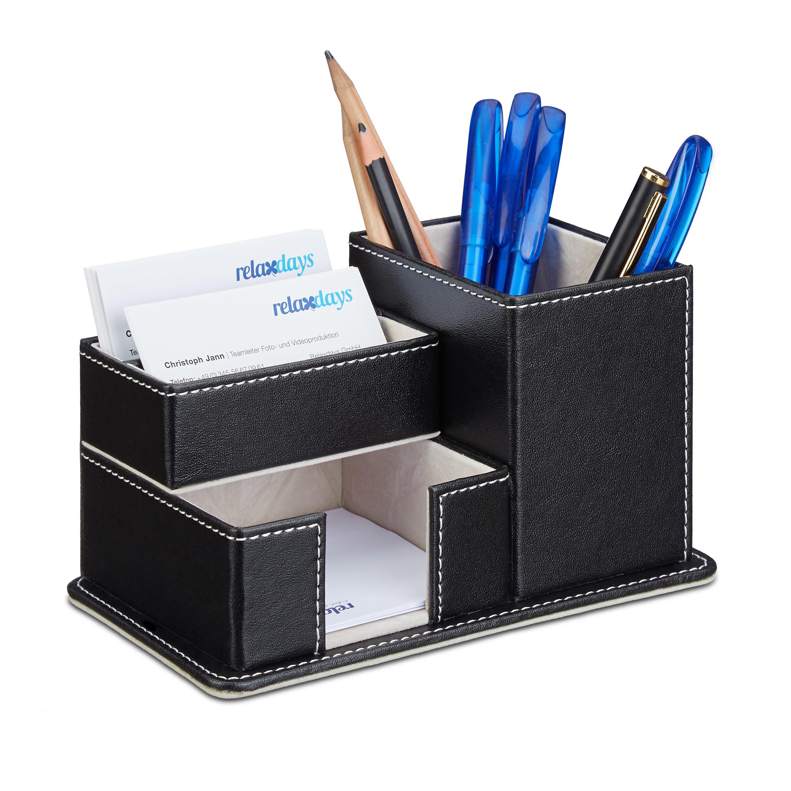 Stiftehalter Kunstleder Schreibtisch Organizer 4 Fächer Stiftbox Bürobedarf