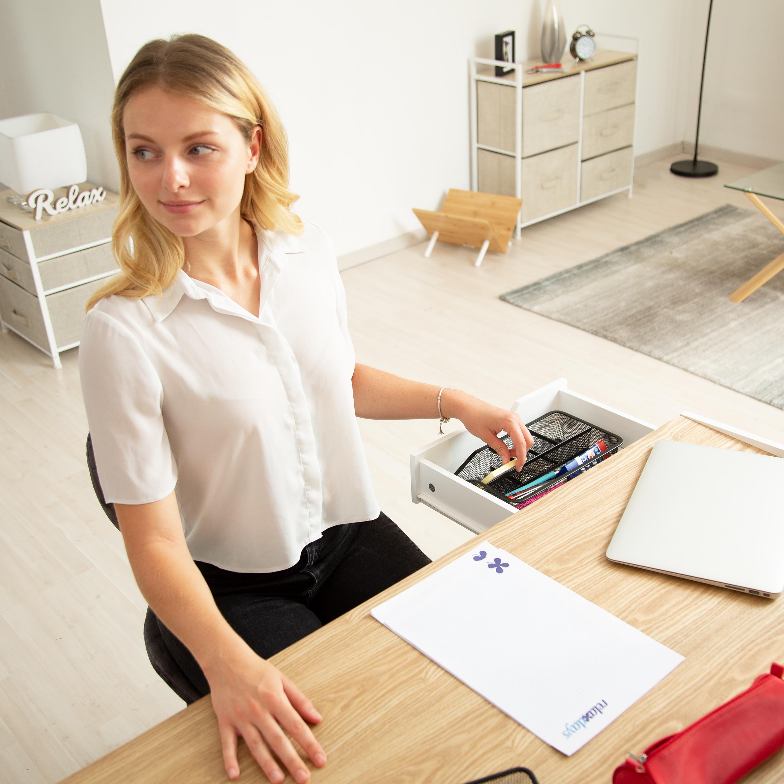 Schreibtischorganizer 4 Ablagen Metall Mesh Schubladenorganizer Schubladenbox
