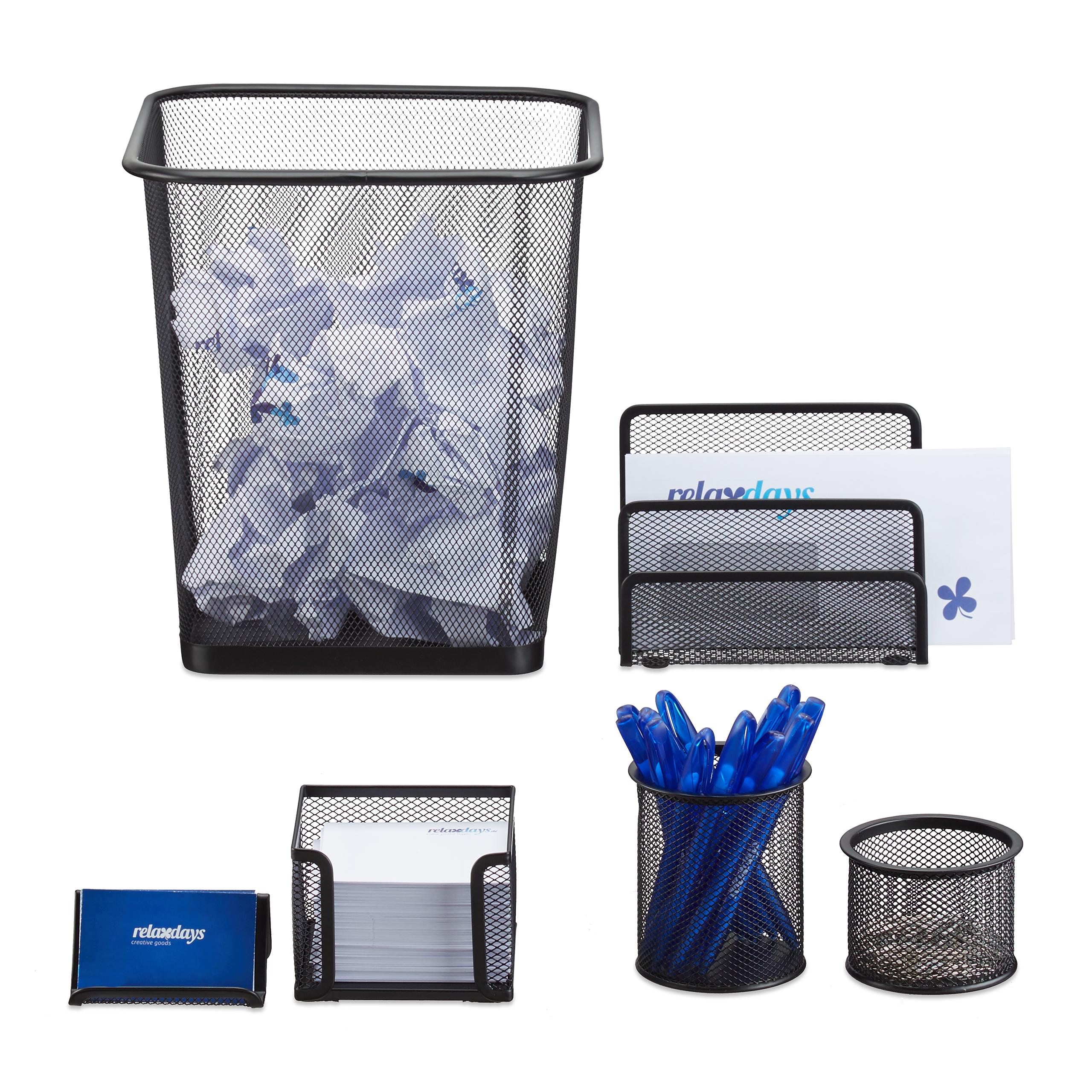 Schreibtisch Organizer 6 Teile Briefablage Stiftehalter Büroset Metall Ablagen