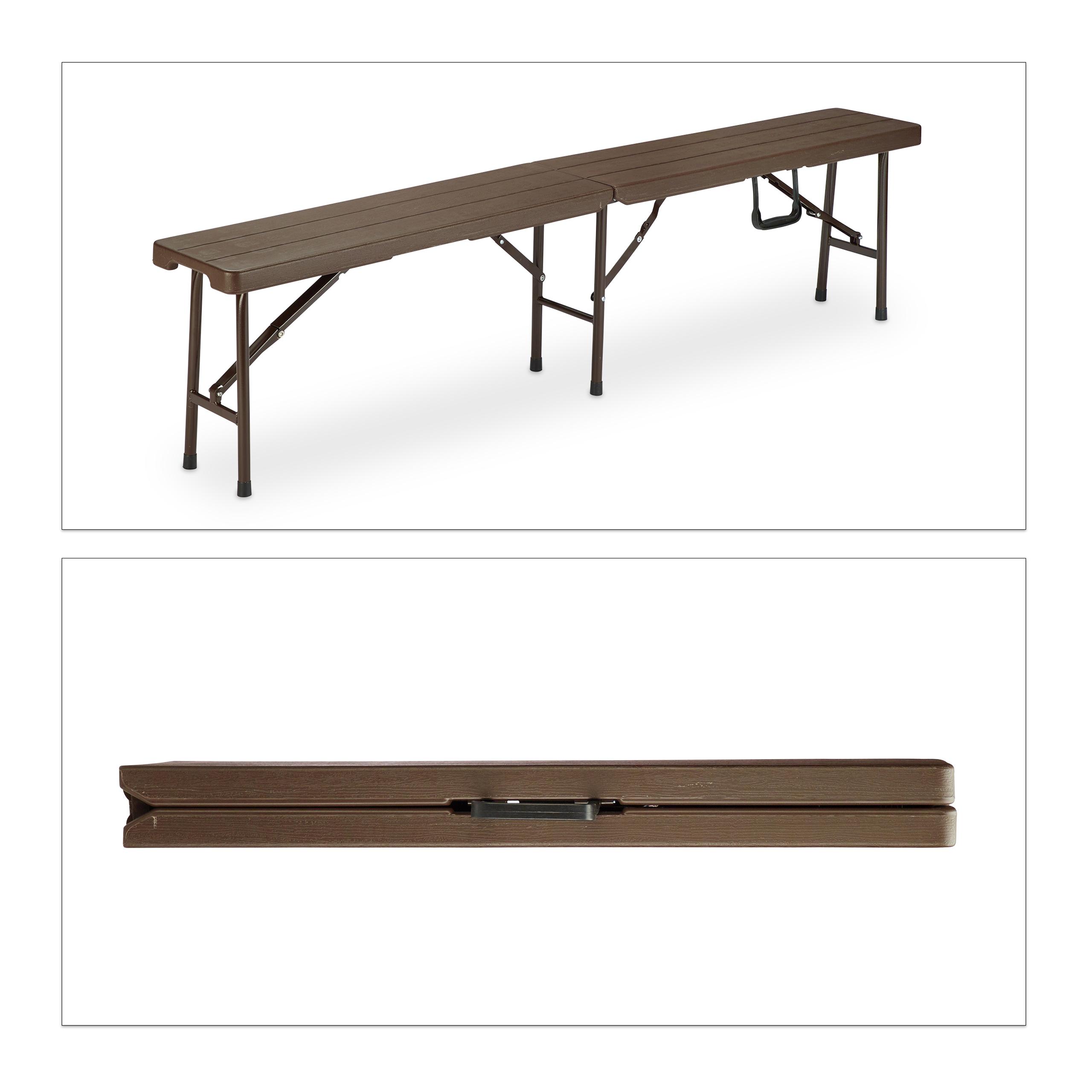 Bierzeltgarnitur klappbar Holzoptik Gartentisch Klapptisch Gartenbank Sitzgruppe