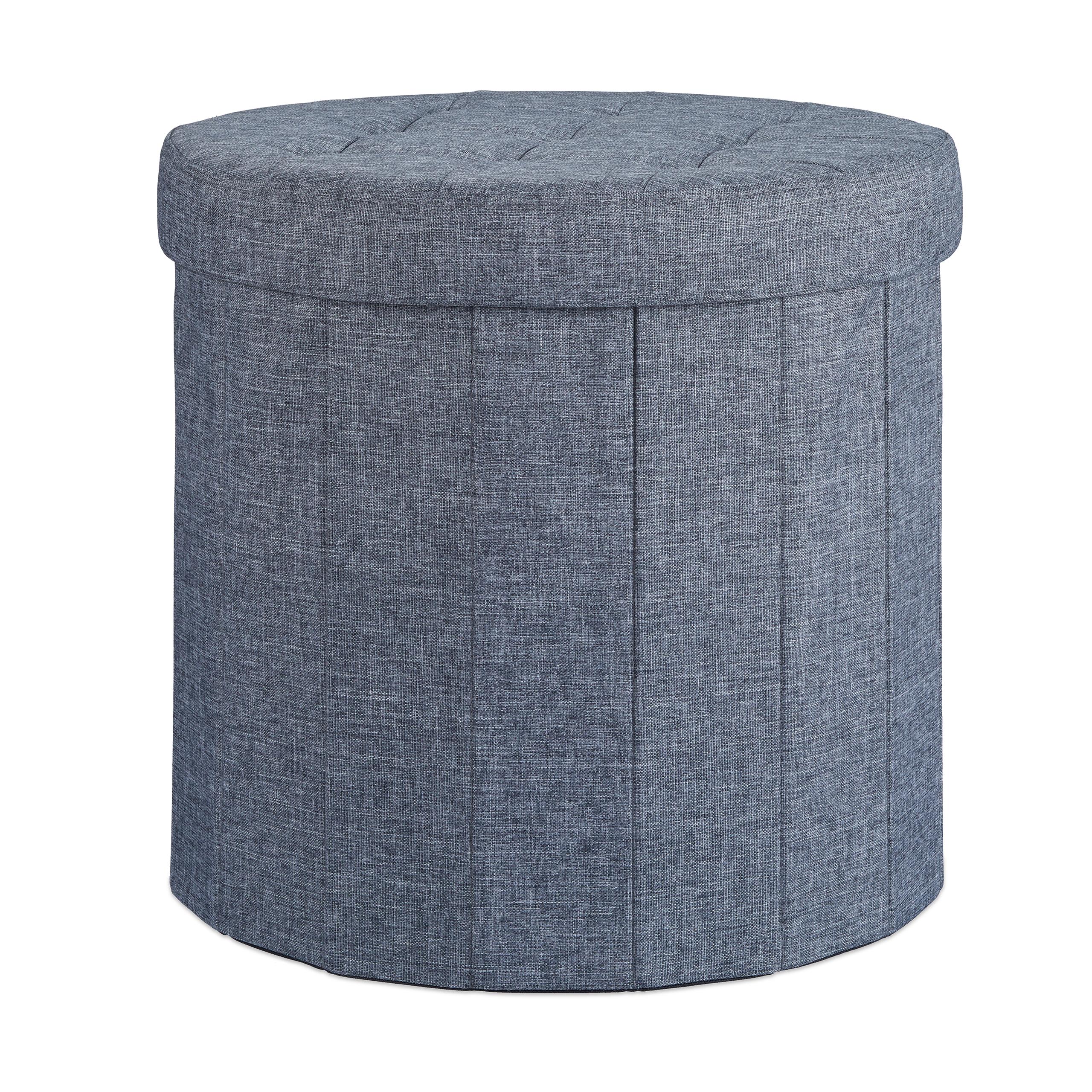 Sitzhocker mit Stauraum Größe L rund Fußhocker groß Falthocker Klapphocker Truhe