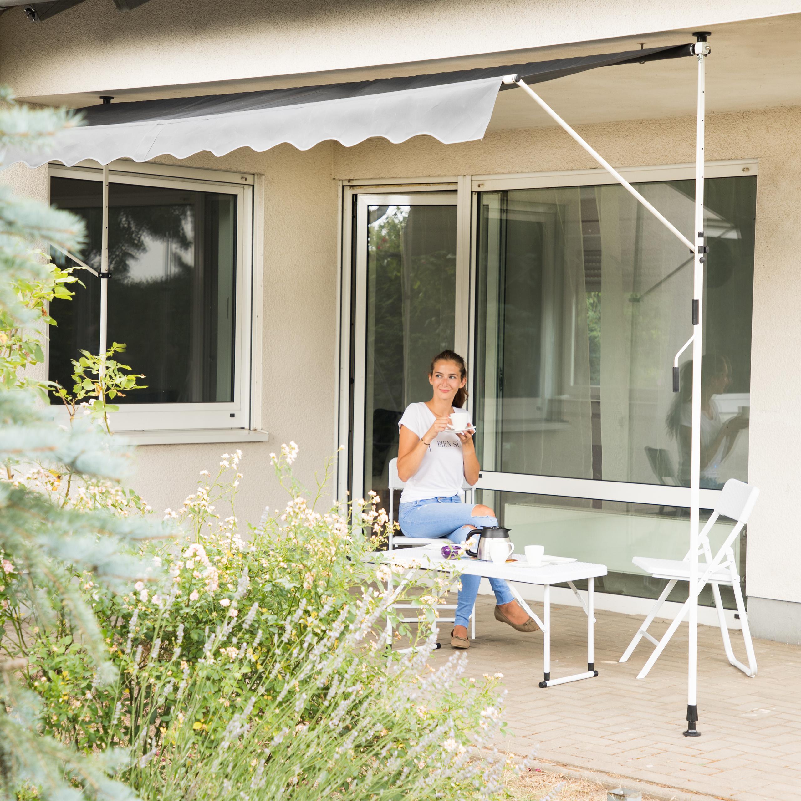 Klemmmarkise Balkon Markise Balkonmarkise Sonnenmarkise Sonnendach grau Gestell