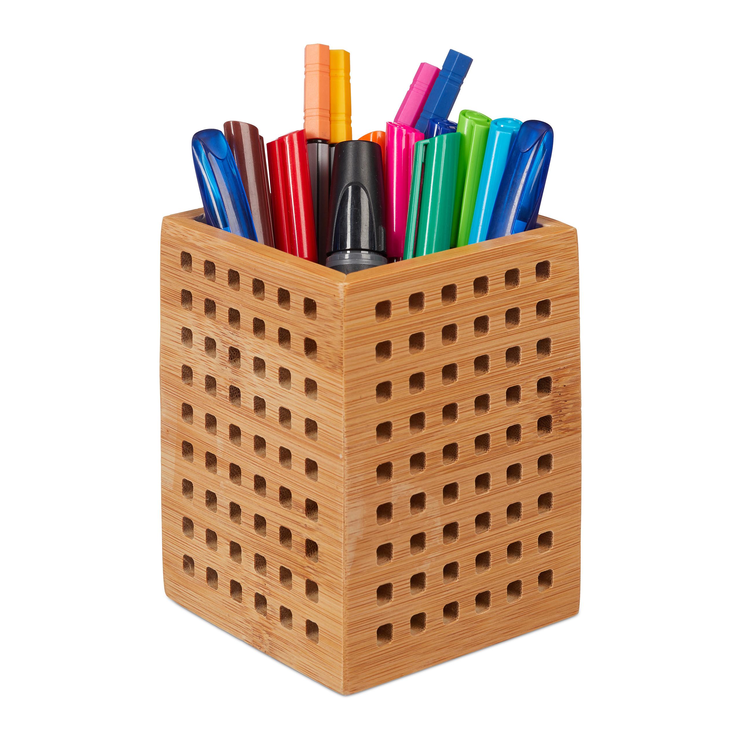 Stiftköcher Stiftehalter Bambus Stiftebox Stiftebecher Holz Utensilienbox Büro