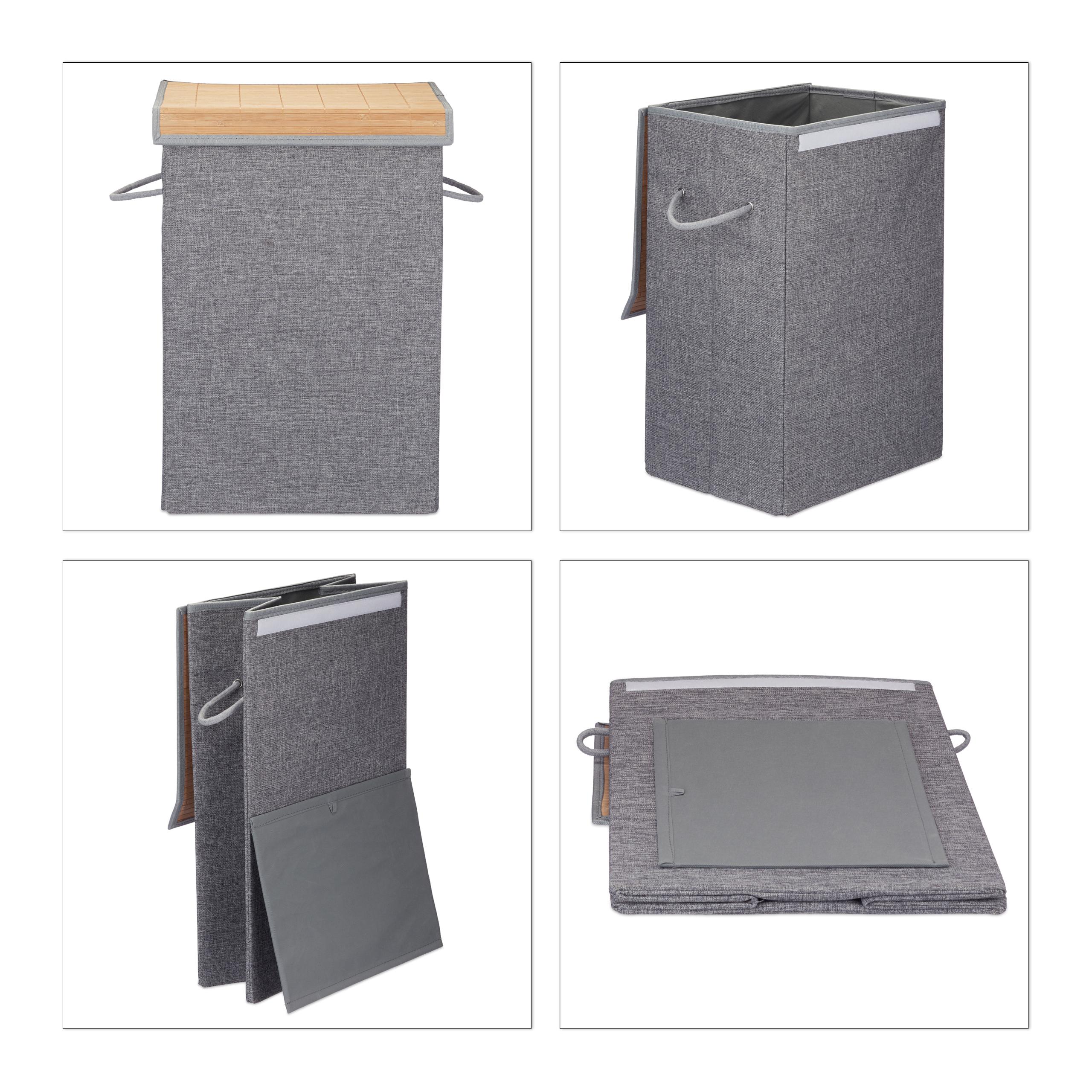 Faltbarer Wäschesammler Wäschekorb Klettdeckel Henkel 60 l Wäschebox Wäschesack
