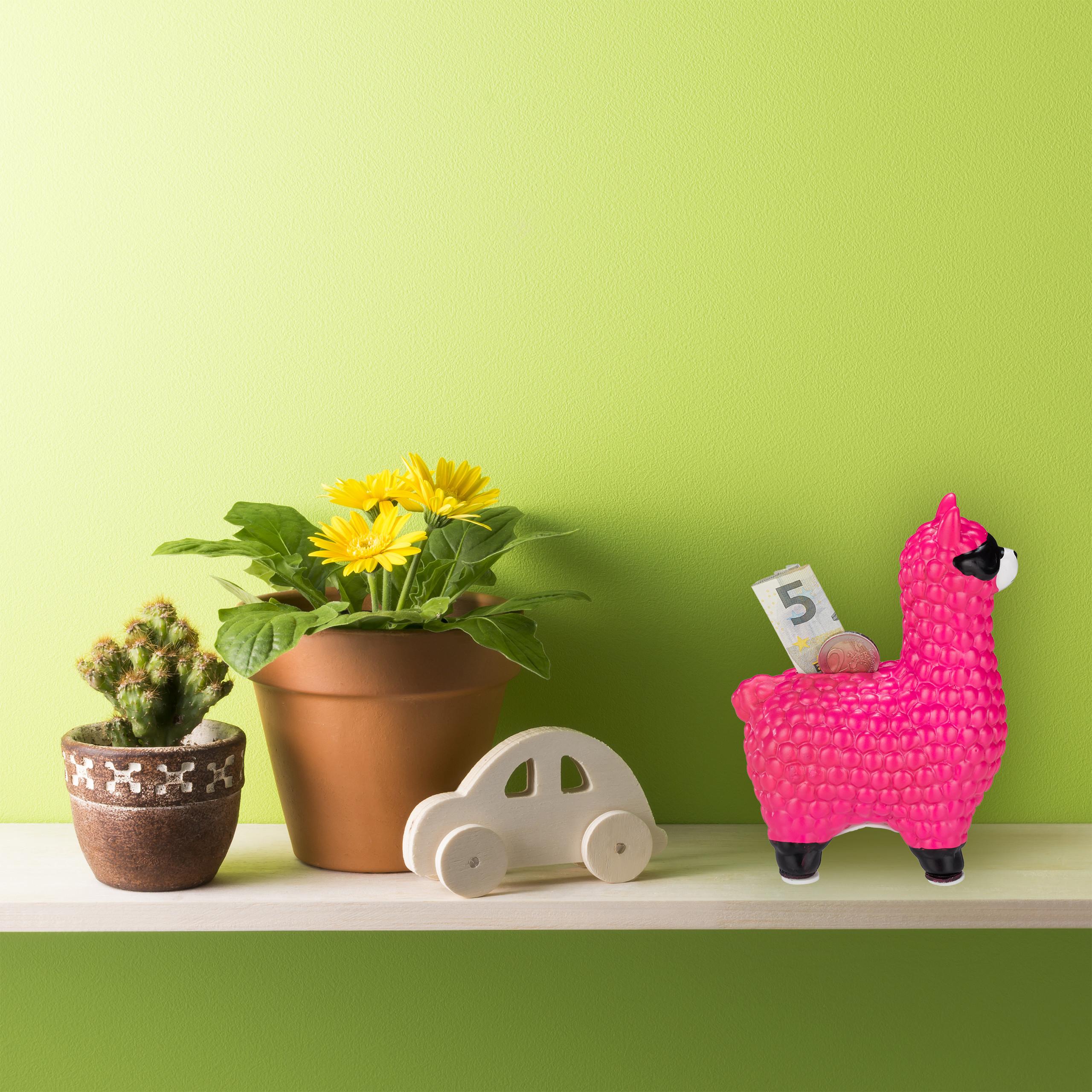 Lama Spardose mit Sonnenbrille Sparbüchse Keramik Sparschwein Alpaka Gelddose