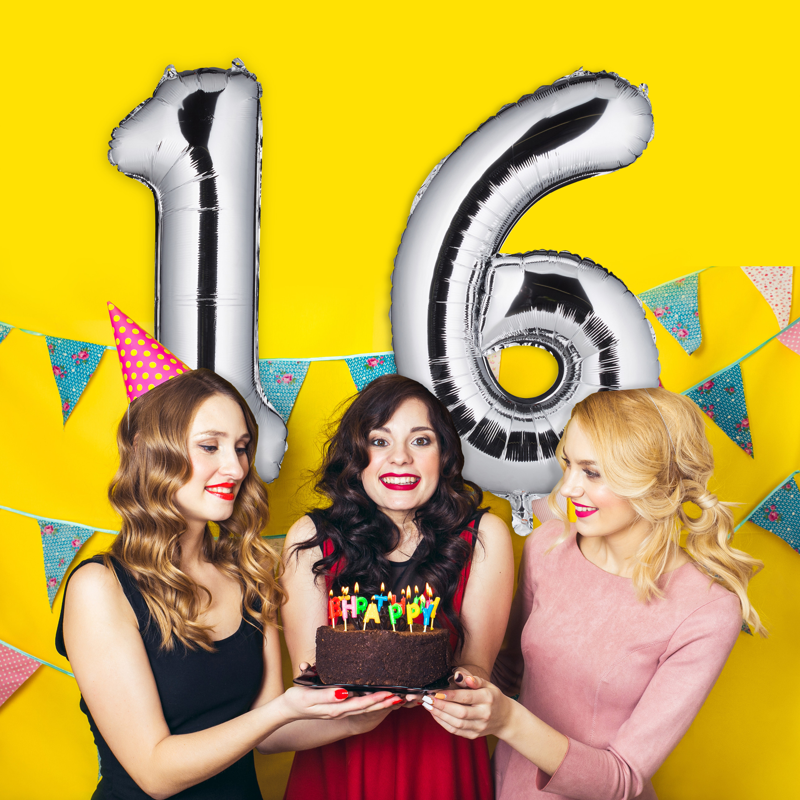Folienballon Zahl 16 Folienzahl Riesenluftballon Geburtstag Zahlenballon Folie