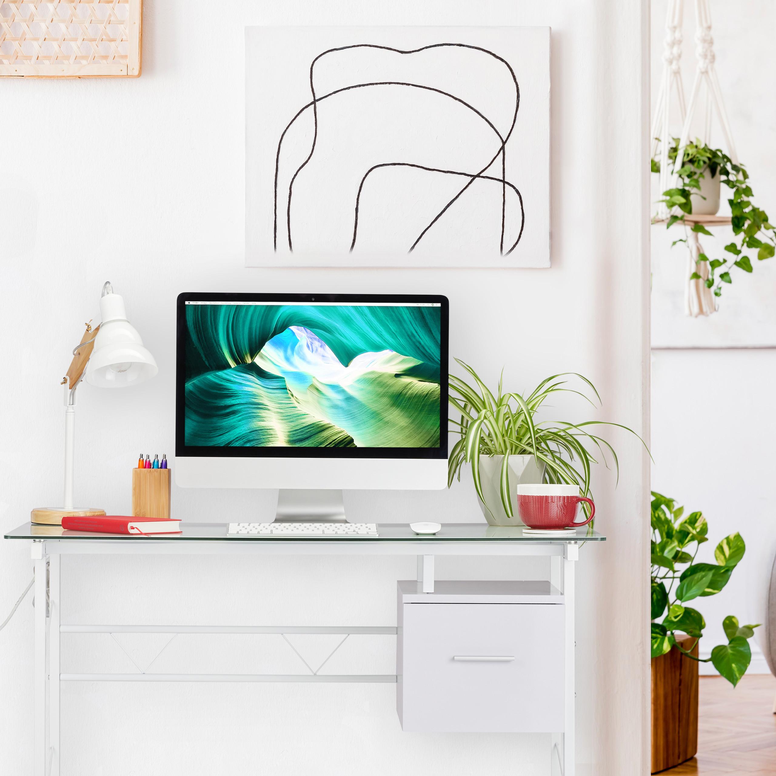 Schreibtisch Schublade Glas Glasschreibtisch Computertisch  PC Tisch Bürotisch