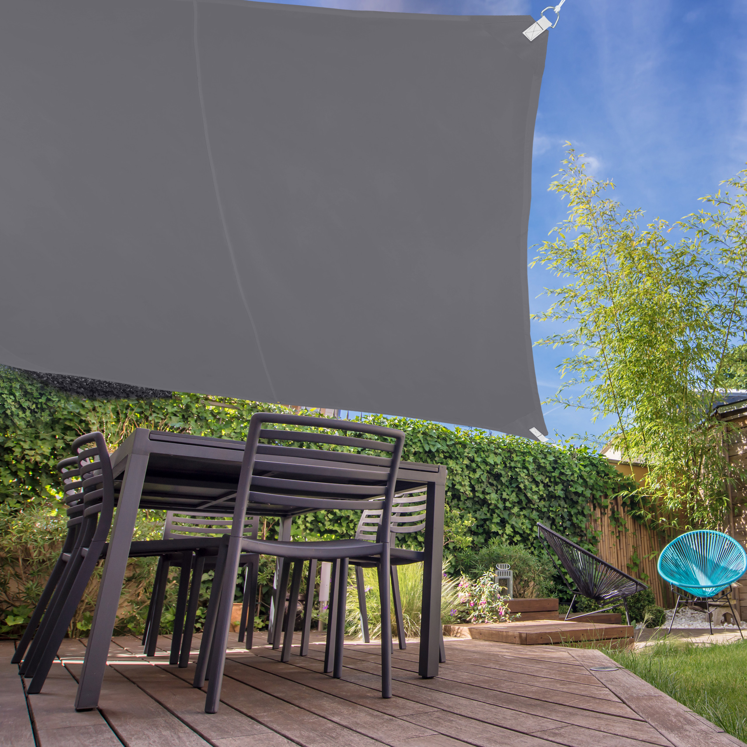 Sonnensegel Terrassendach Stoff Balkonsegel Segeltuch grau quadratisch UV-Schutz