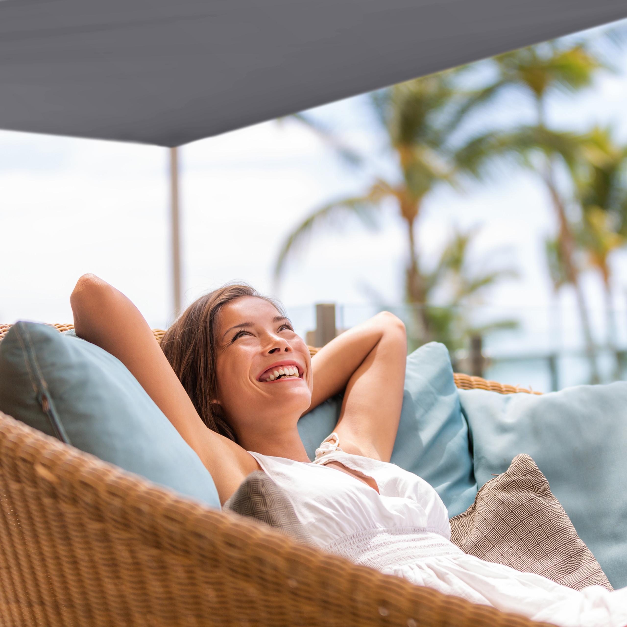 Sonnensegel Schattensegel Sonnenschutz Balkonsegel Schattenspender Trapez grau