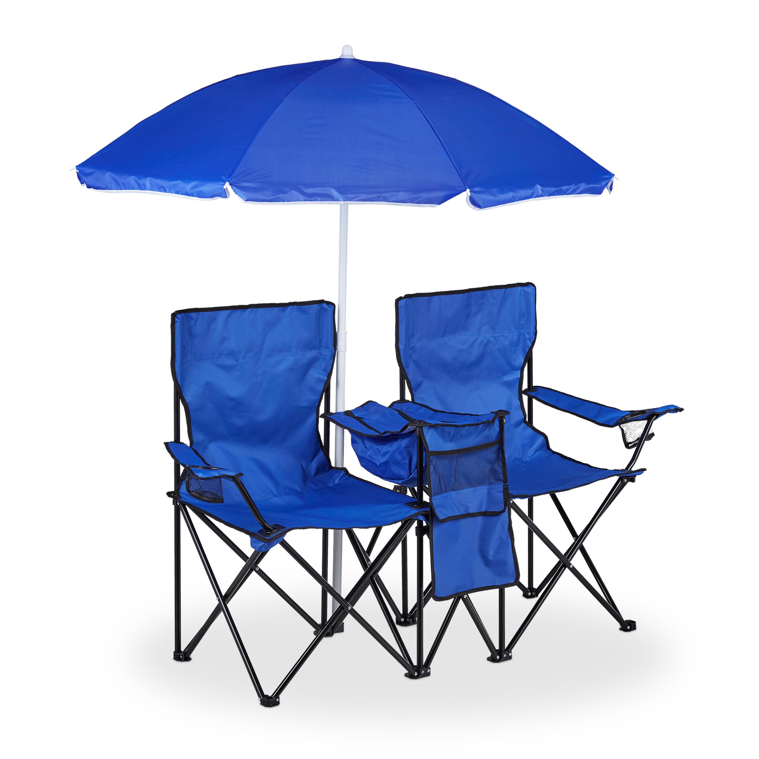 Doppel Campingstuhl outdoor 2er Partner Campingstuhl Sonnenschirm Strandstuhl