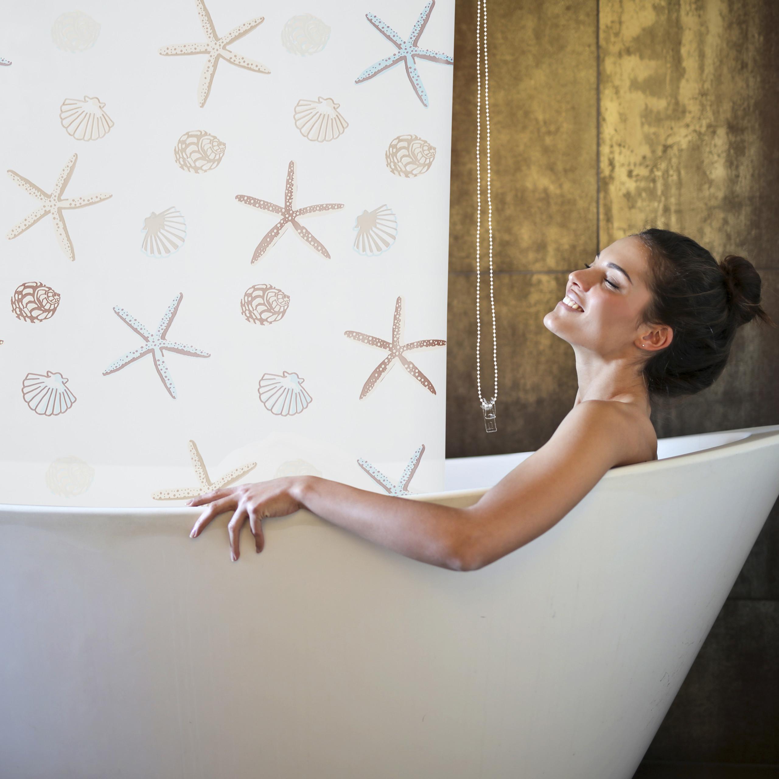 Shower Curtain Roller Blind Shells Ceiling Drop Bathroom Bath
