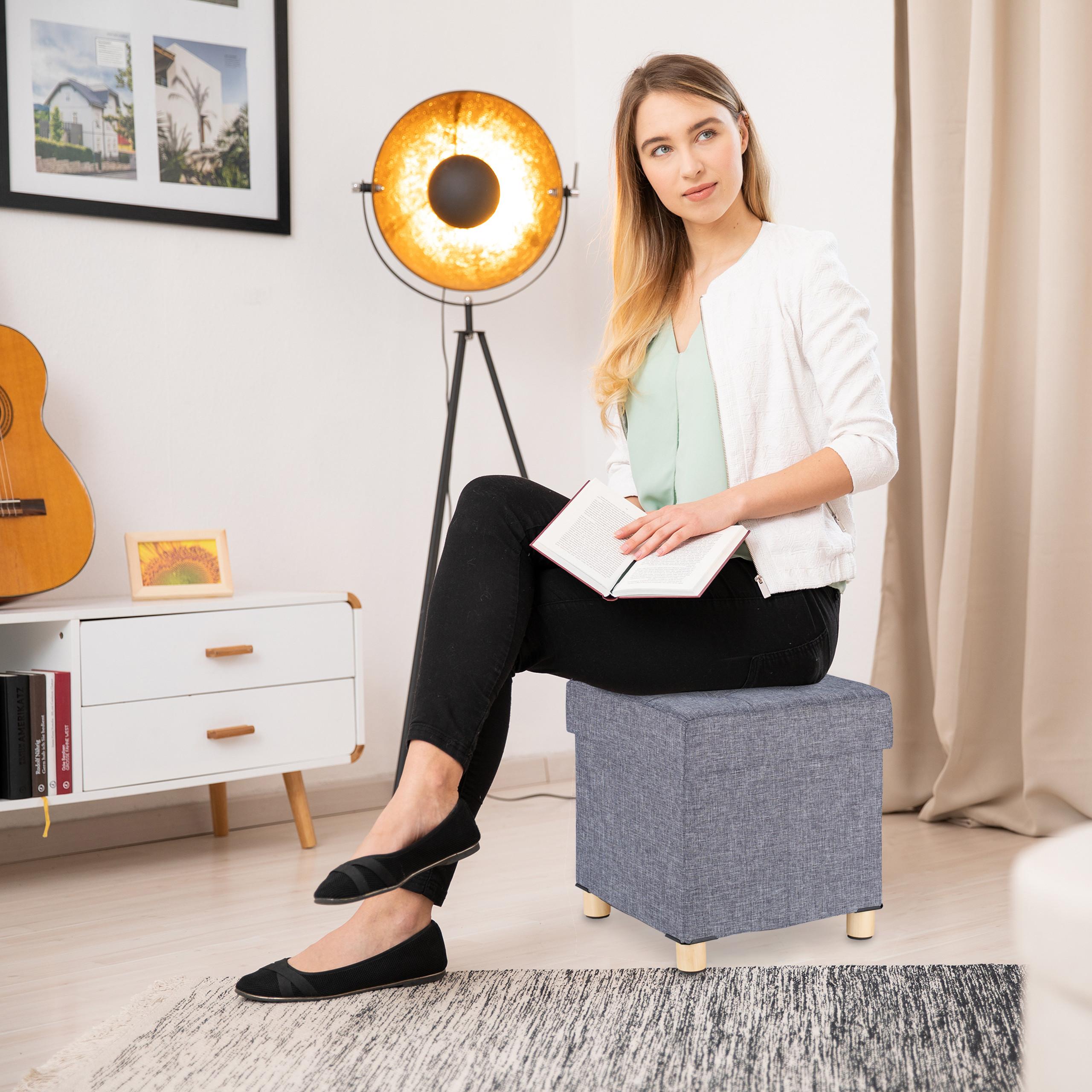 Fußhocker Stepphocker Polsterhocker Hocker Sitzhocker mit Stauraum Sitzwürfel