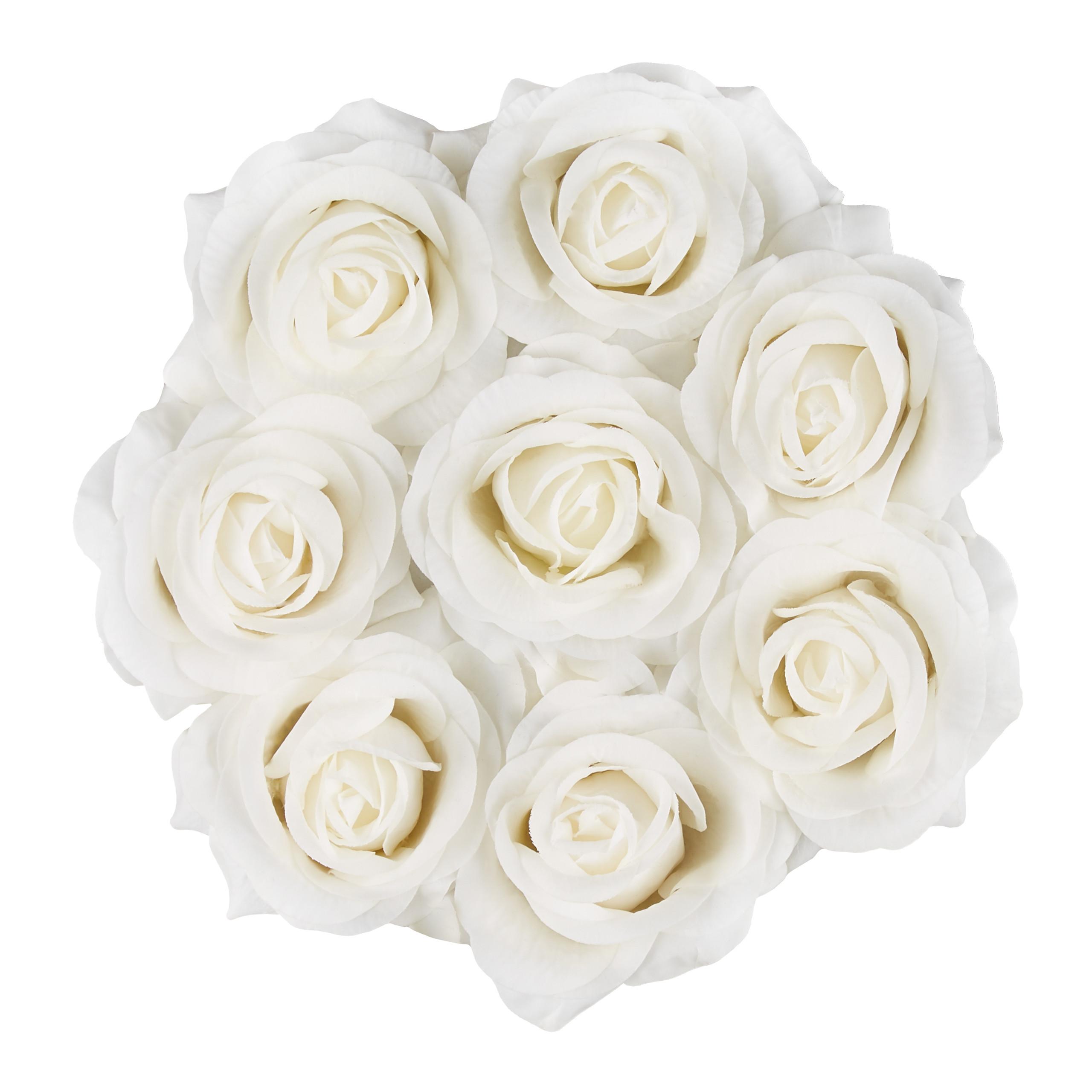 Künstliche Rosen Dauerrosen Flowerbox rund Blumenbox weiß Rosenbox 8 Rosen