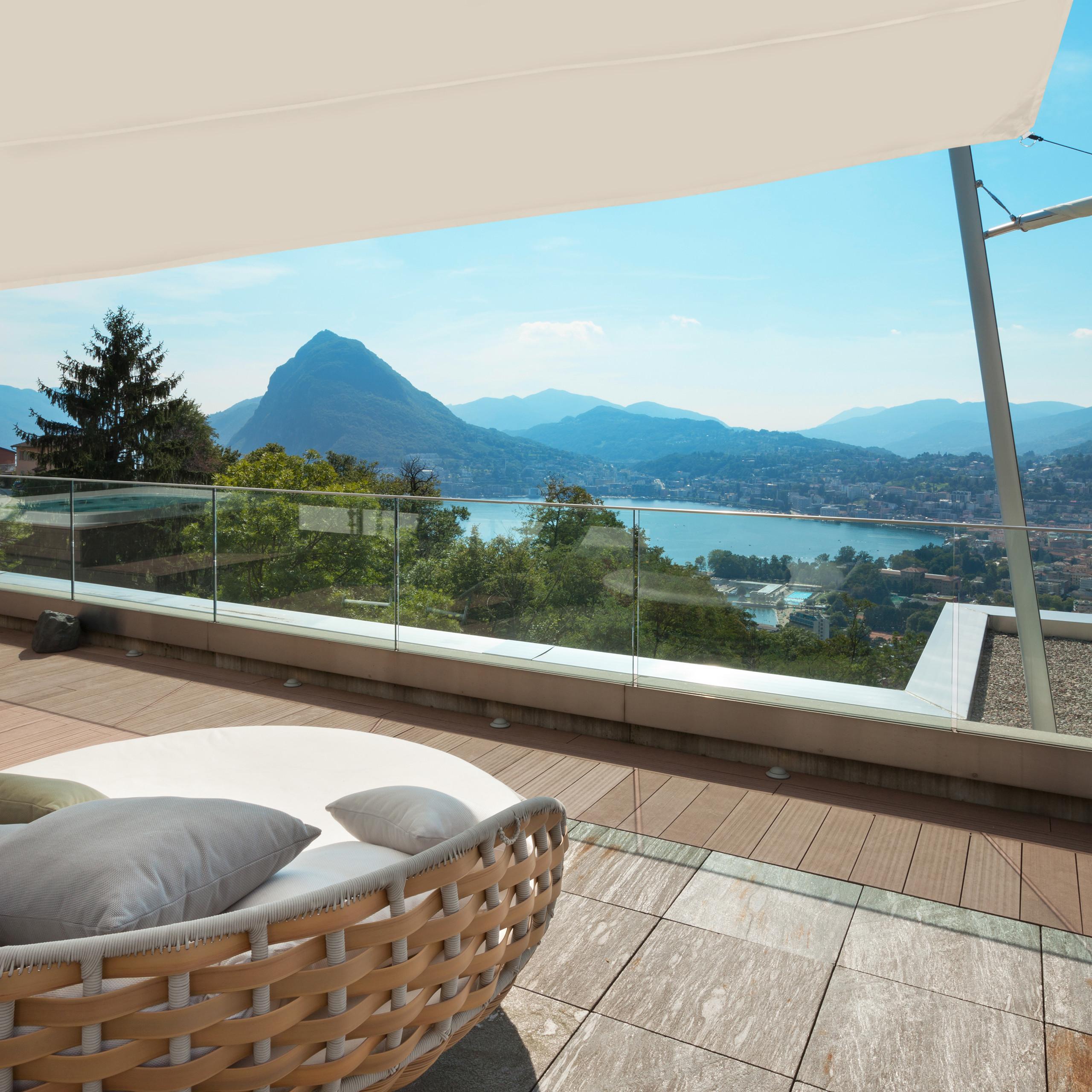 Sonnensegel Trapez Sonnentuch Balkonsegel beige Sonnenschutz Segel Segeltuch