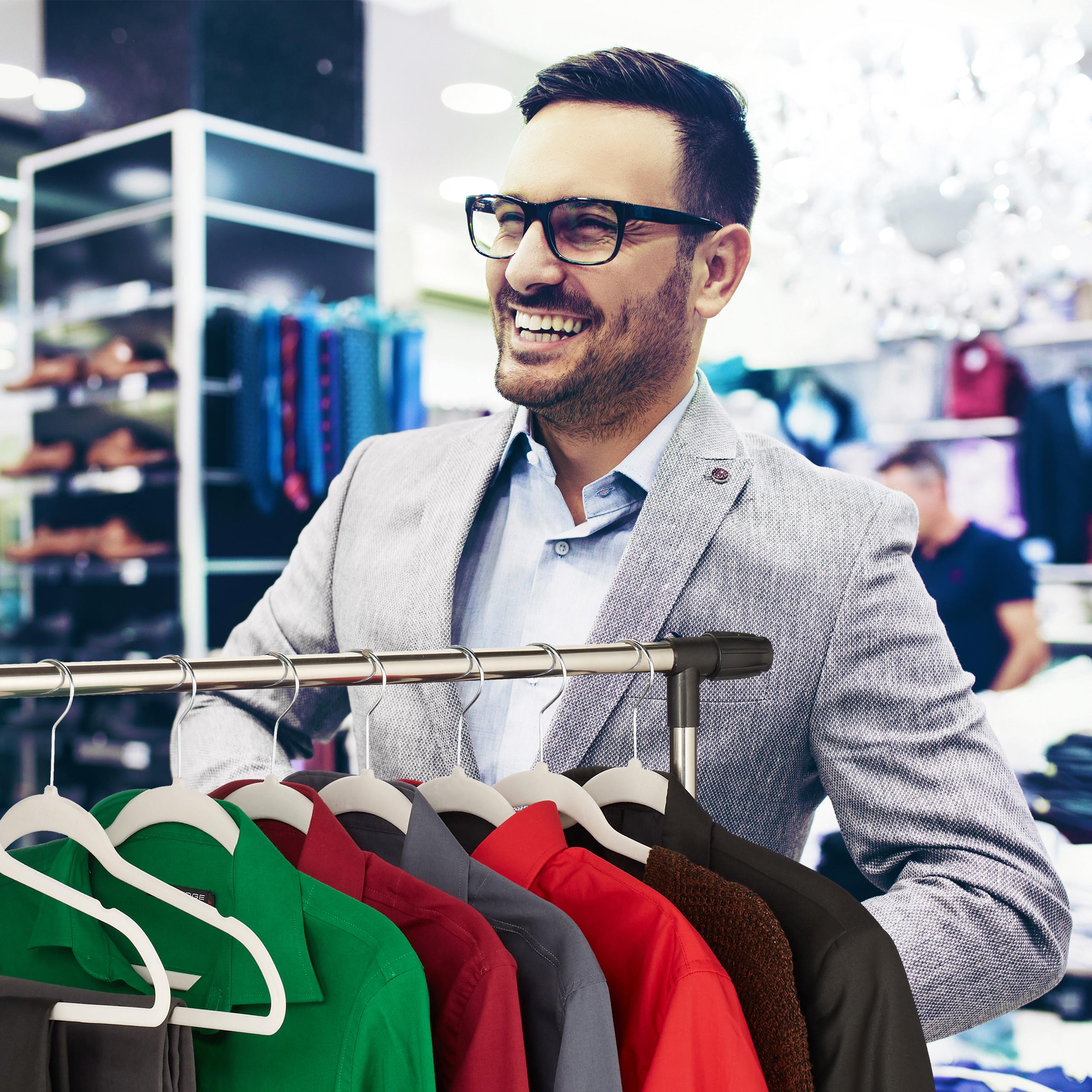 Kleiderbügel Samt Garderobenbügel Samtbügel Anzugbügel Hosenbügel Hemdbügel weiß