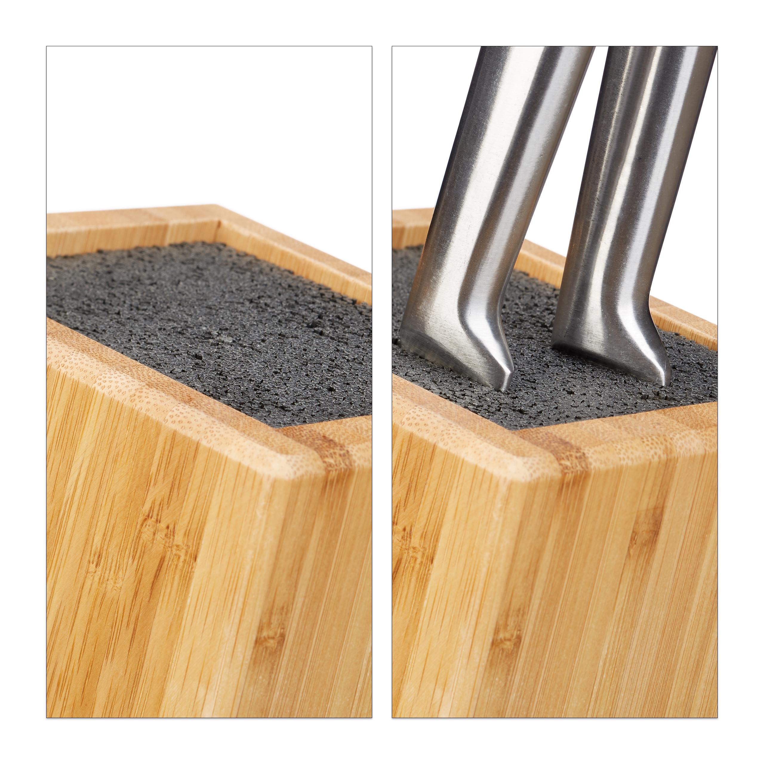 Küchenblock mit Borsten Bambus Messerblock Messerhalter 6 Messer Holzblock f