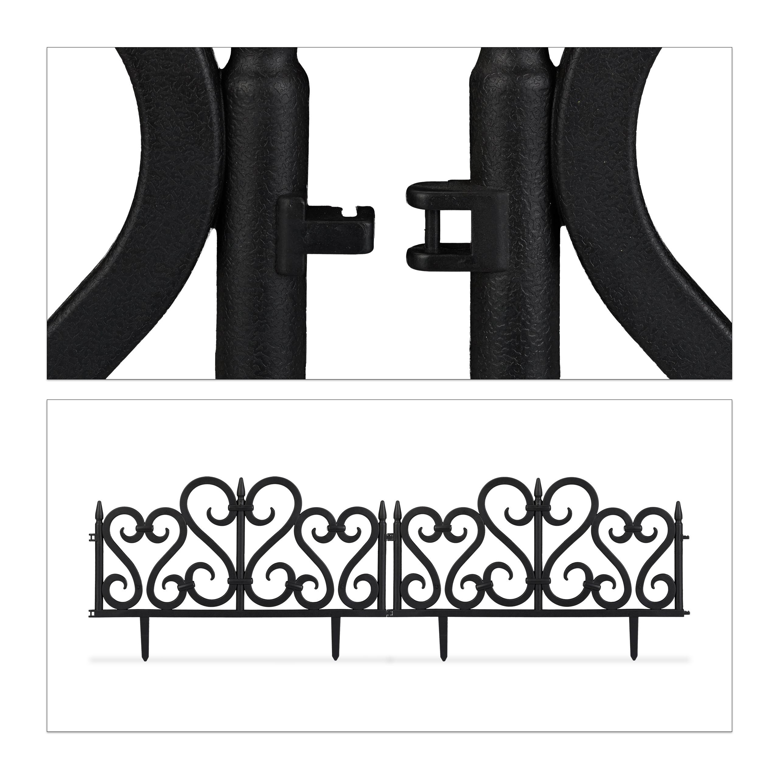 Rasenzaun Beetbegrenzung schwarz 4-teiliges Beetzaun Set Dekozaun Ornament