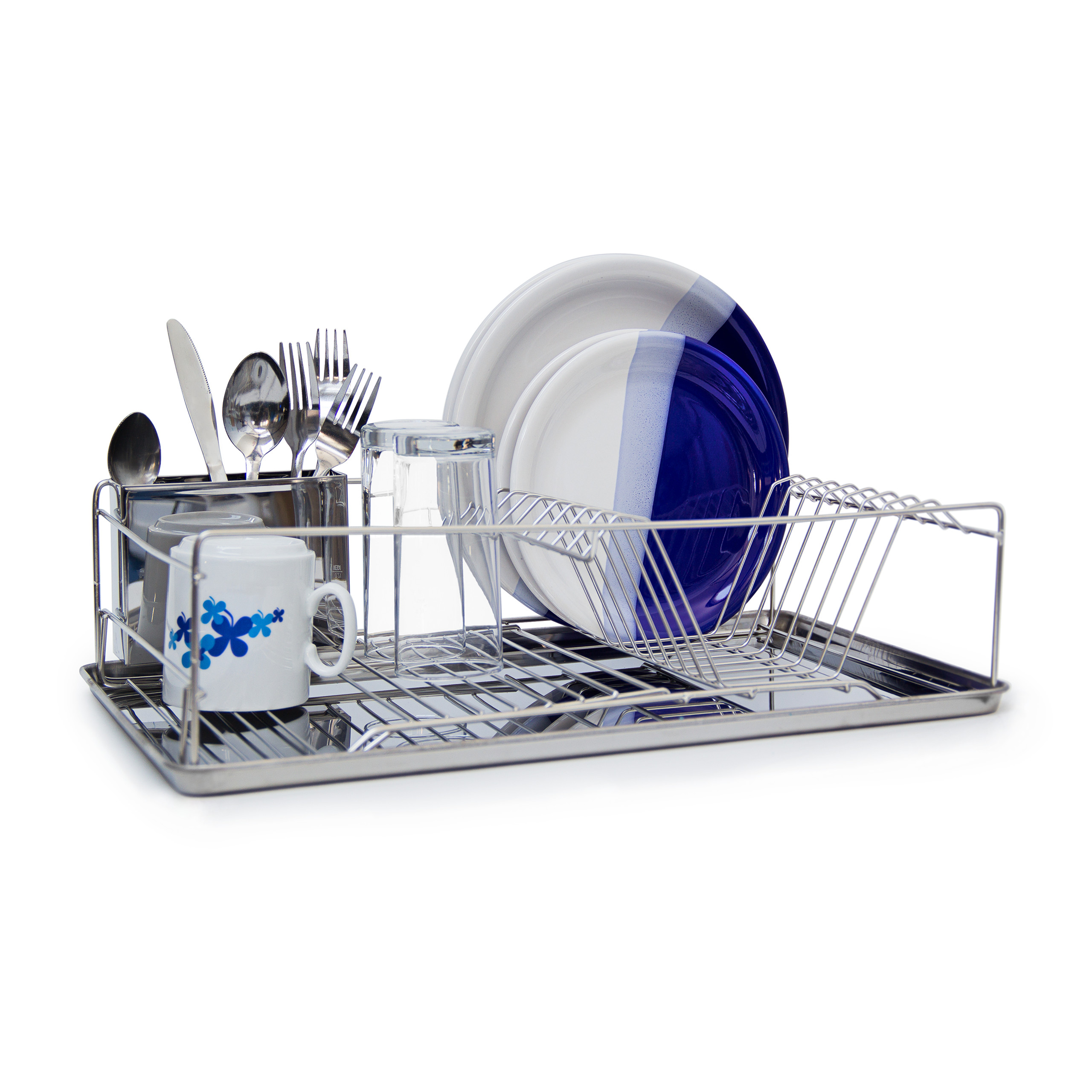 Dish Drainer Rack With Drip Tray And Cutlery Silverware Basket Chromed Metal