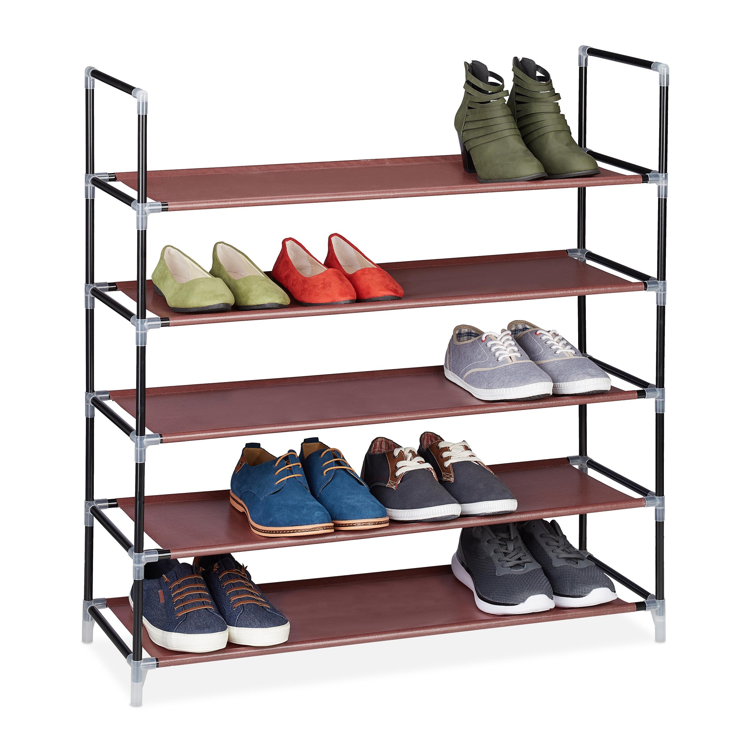 Schuhregal mit Griffen Schuhablage Schuhständer Schuhschrank 5 Ablagen 20 Paar