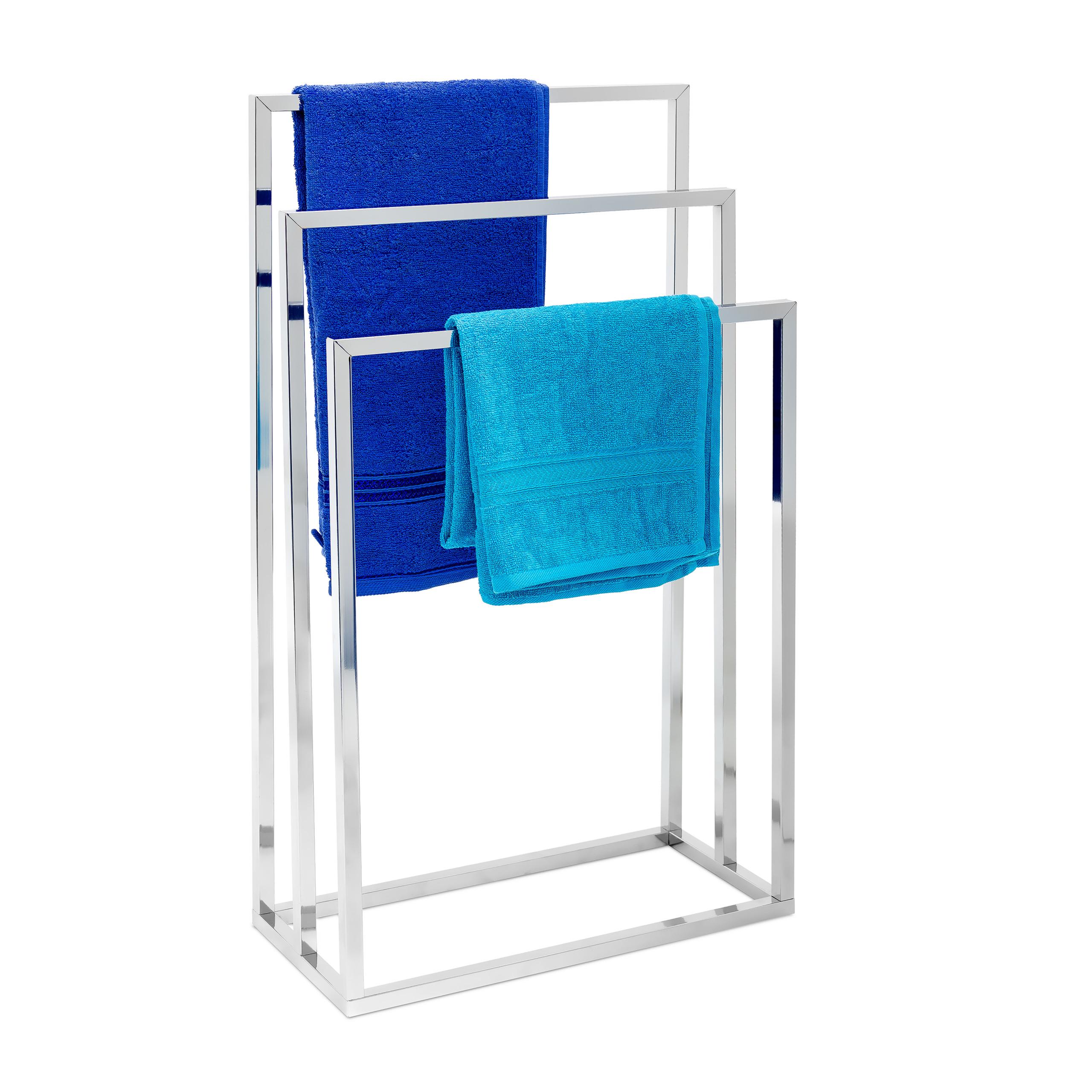 Porte-serviettes-sur-pied-avec-base-antiderapante-3-bras-chromes-en-3-hauteurs