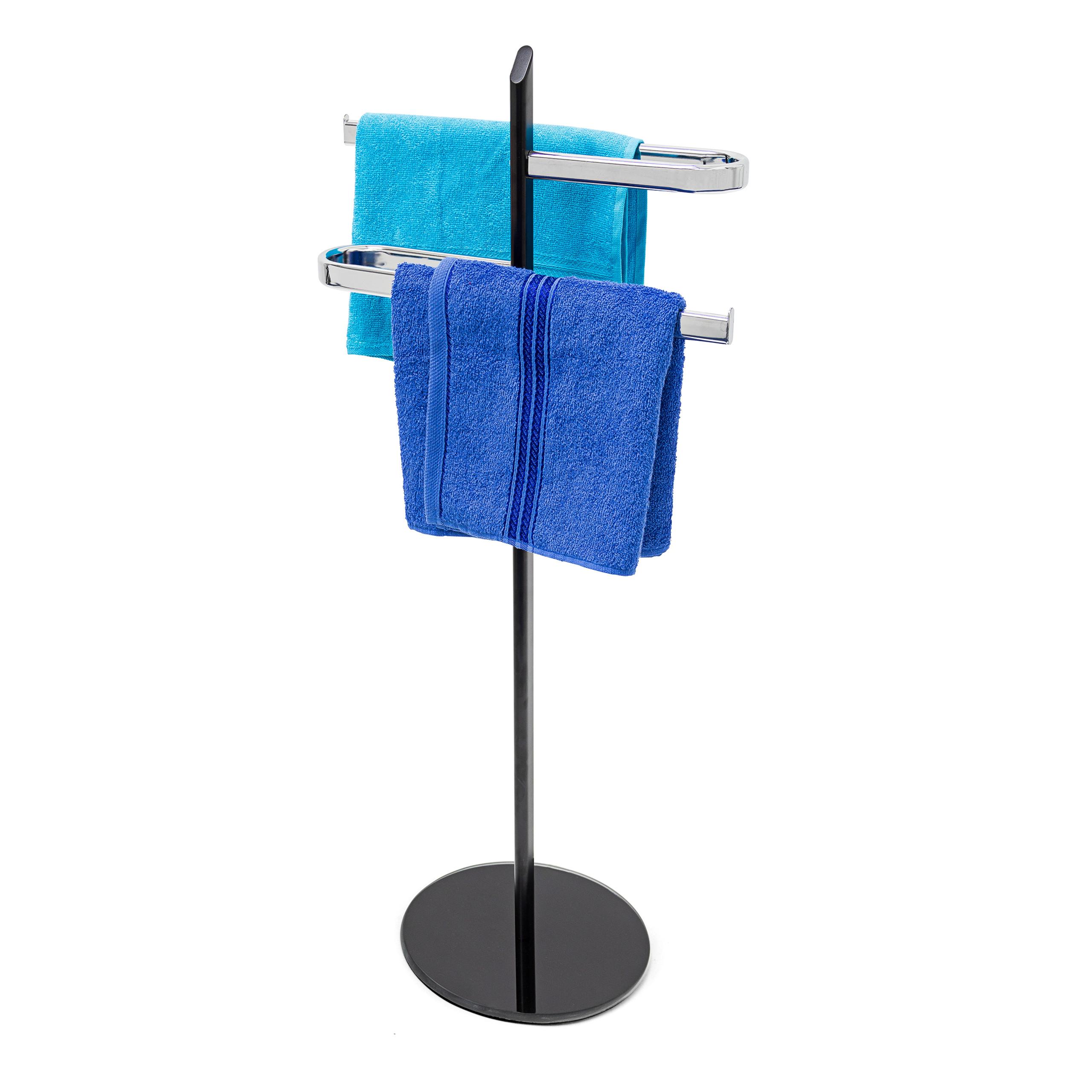 Porte-serviettes-sur-pied-KLAAS-en-Inox-base-en-verre-Support-serviette-bain