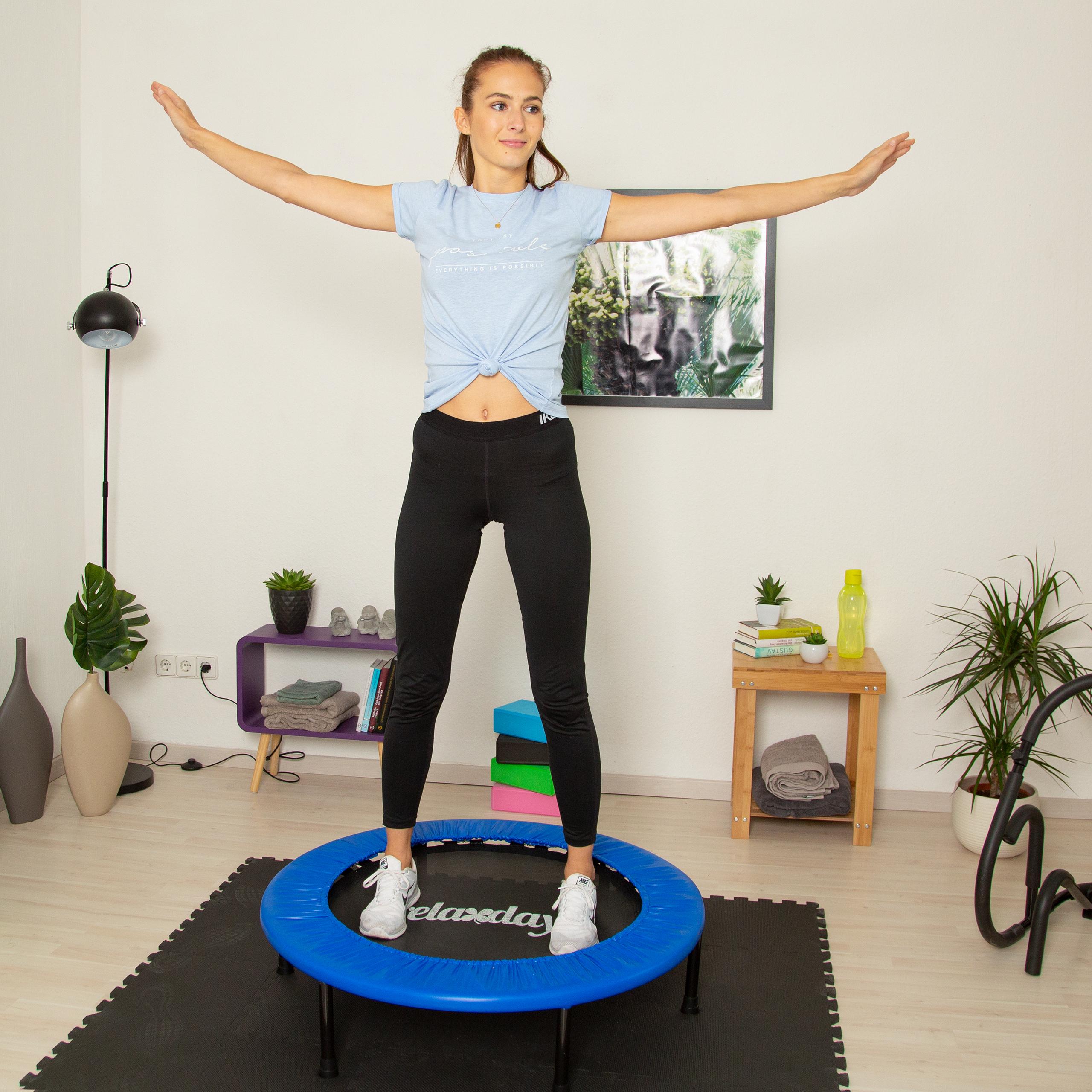 Fitness-Trampolin-Aerobic-Indoor-Fitnesstrampolin-Ausdauer-Training-bis-100-kg Indexbild 3