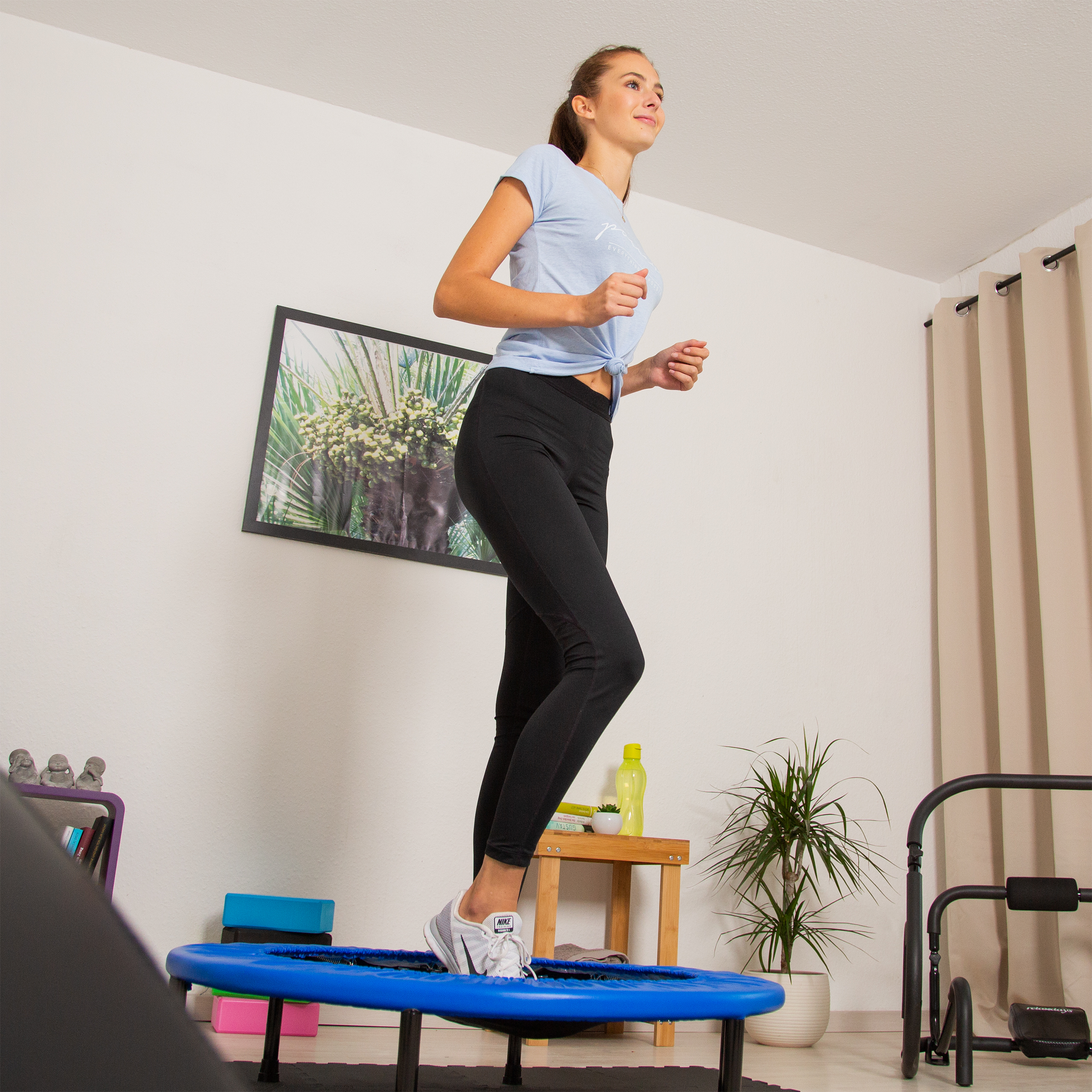 Fitness-Trampolin-Aerobic-Indoor-Fitnesstrampolin-Ausdauer-Training-bis-100-kg Indexbild 4