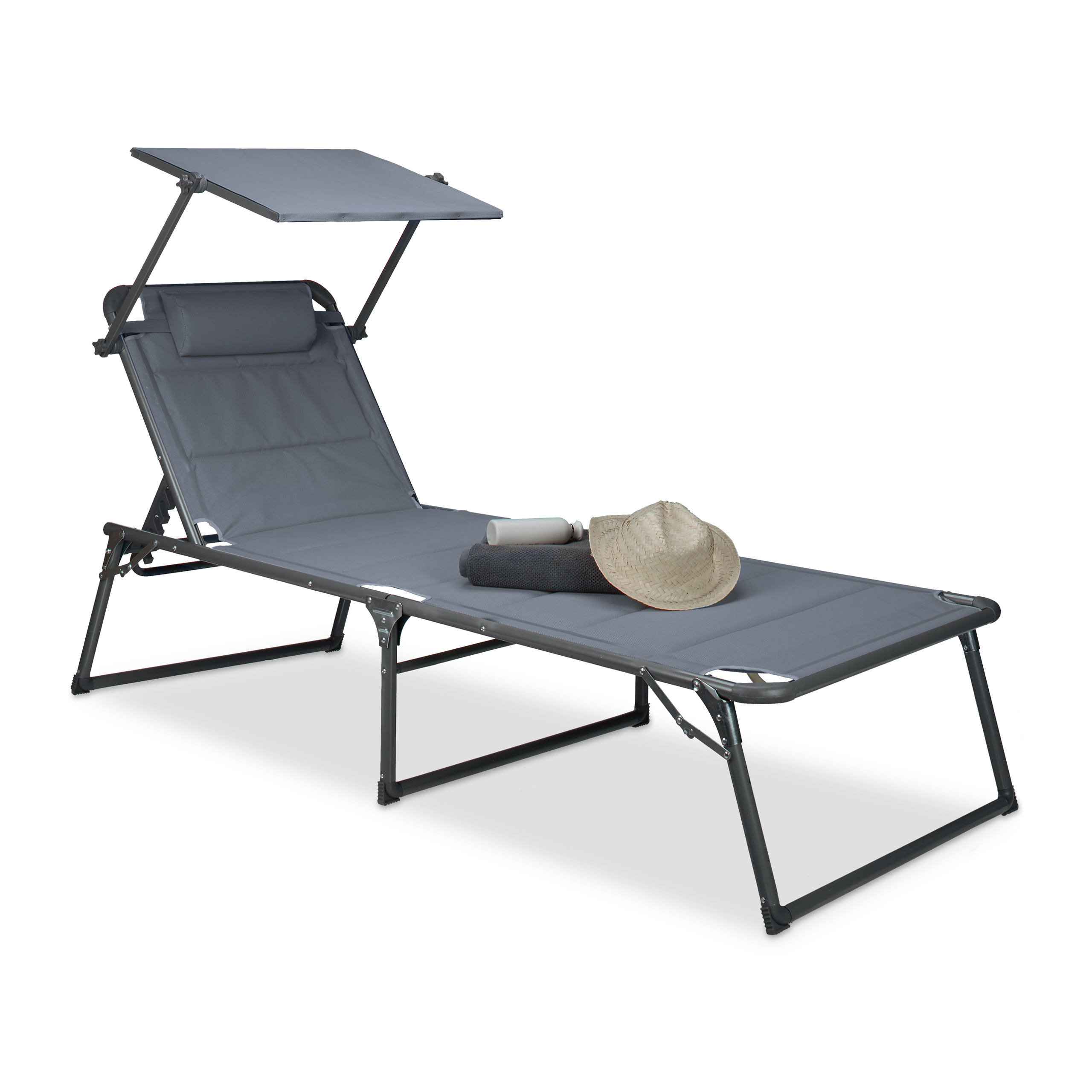 Relaxdays Chaise longue Transat Pare-soleil pliante Jardin HxLxP 37 on chaise sofa sleeper, chaise recliner chair, chaise furniture,